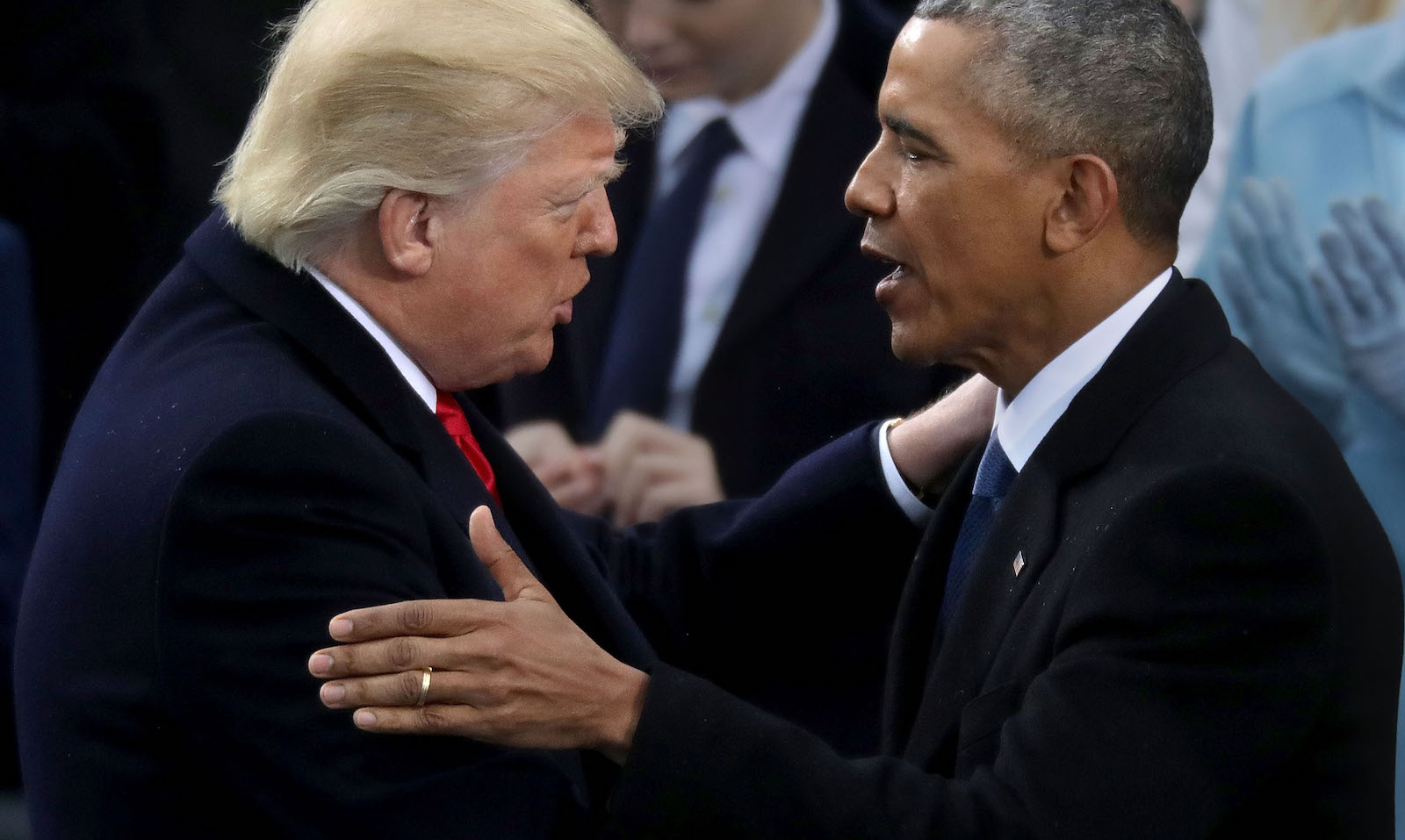 Former US president Barack Obama and US President Donald Trump, 20 January 2017 (Photo: Chip Somodevilla/Getty)