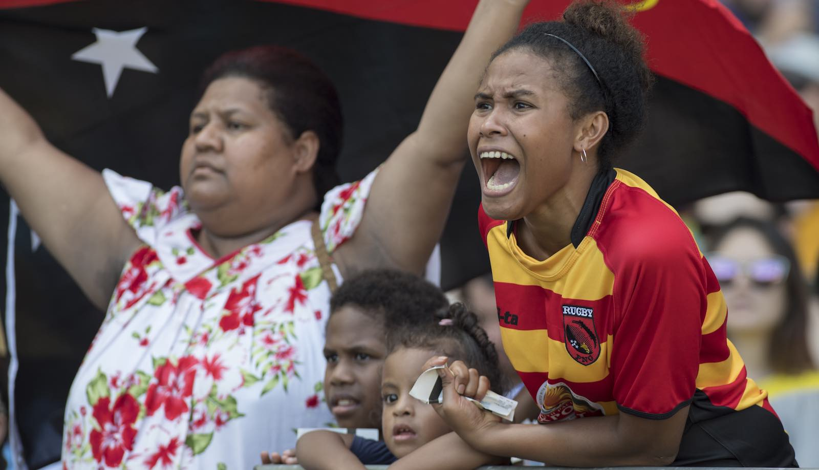 Fans from Papua New Guinea cheer their team at Allianz Stadium in Sydney, February 2017 (Photo: James D. Morgan via Getty)