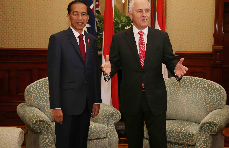 Joko Widodo and Malcolm Turnbull in Sydney in February 2017 (Photo: David Moir/Getty)