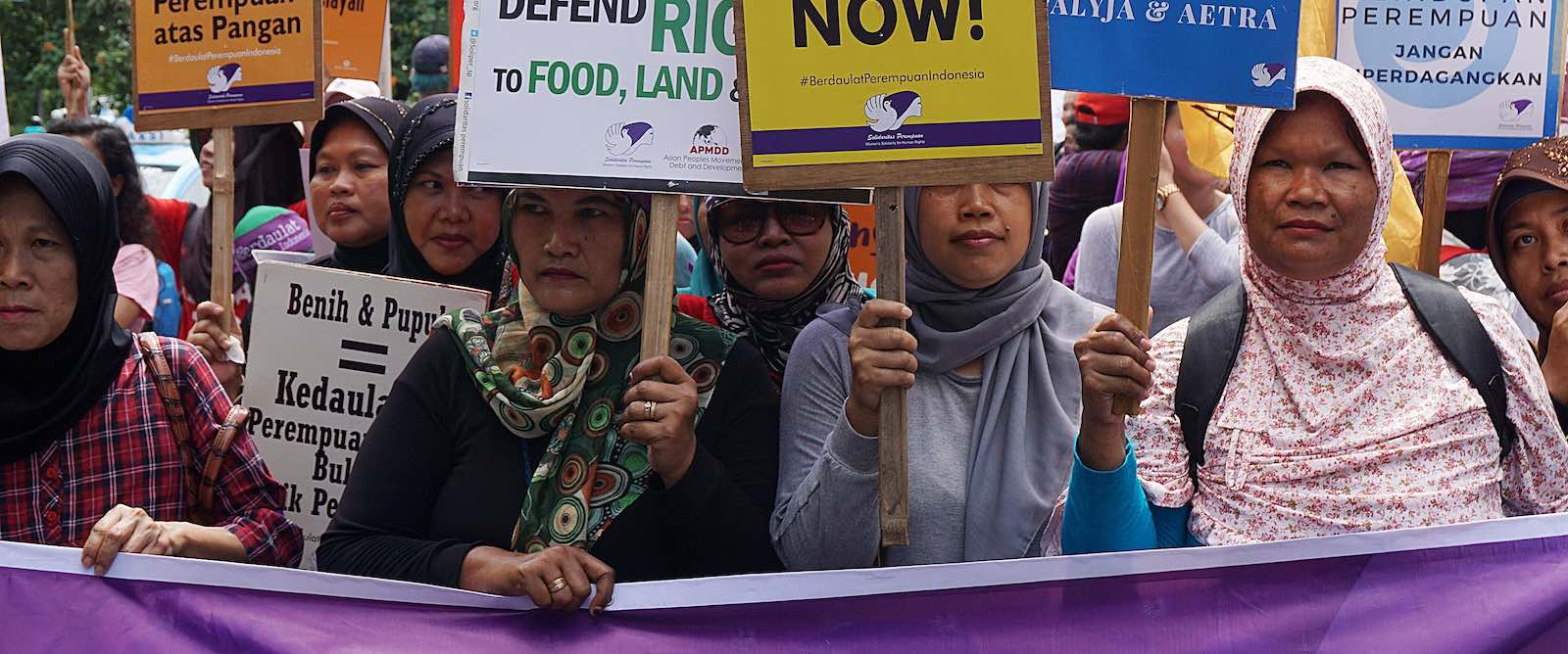 Placards in Jakarta to support International Women's Day in 2017 (Photo: Jefta Images via Getty)