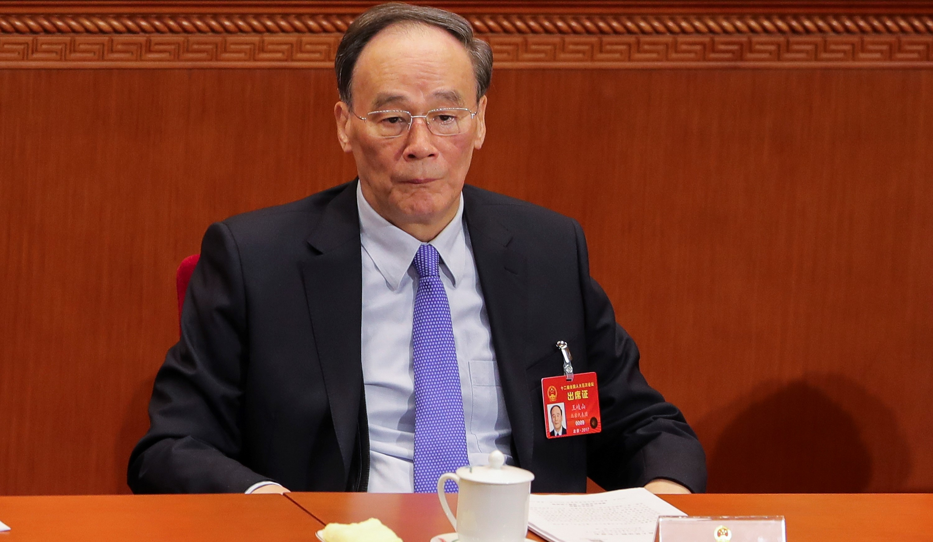 Politburo Standing Committee member Wang Qishan, March 2017 (Photo Getty Images/Lintao Zhang)