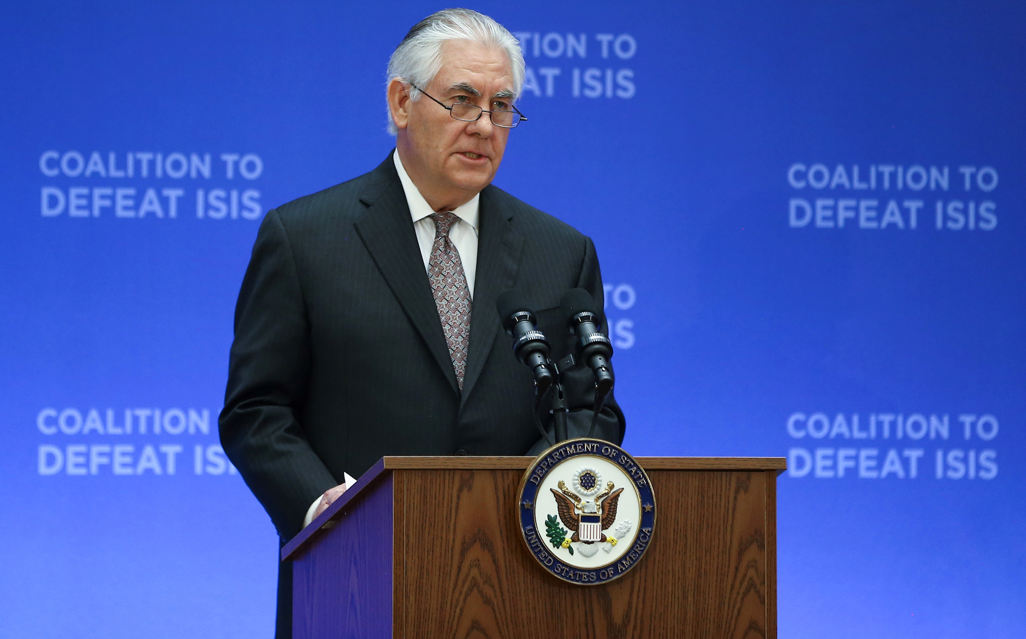 The US Secretary of State Rex Tillerson during the meeting of the coalition to defeat of ISIS in Washington. Photo: Cem Ozdel/Anadolu Agency/Getty Images