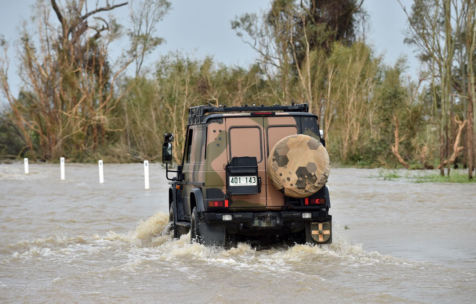 An Australian army vehicle in floodwaters near the Queensland town of Bowen in March 2017 following Cyclone Debbie (Photo: Peter Parks via Getty)
