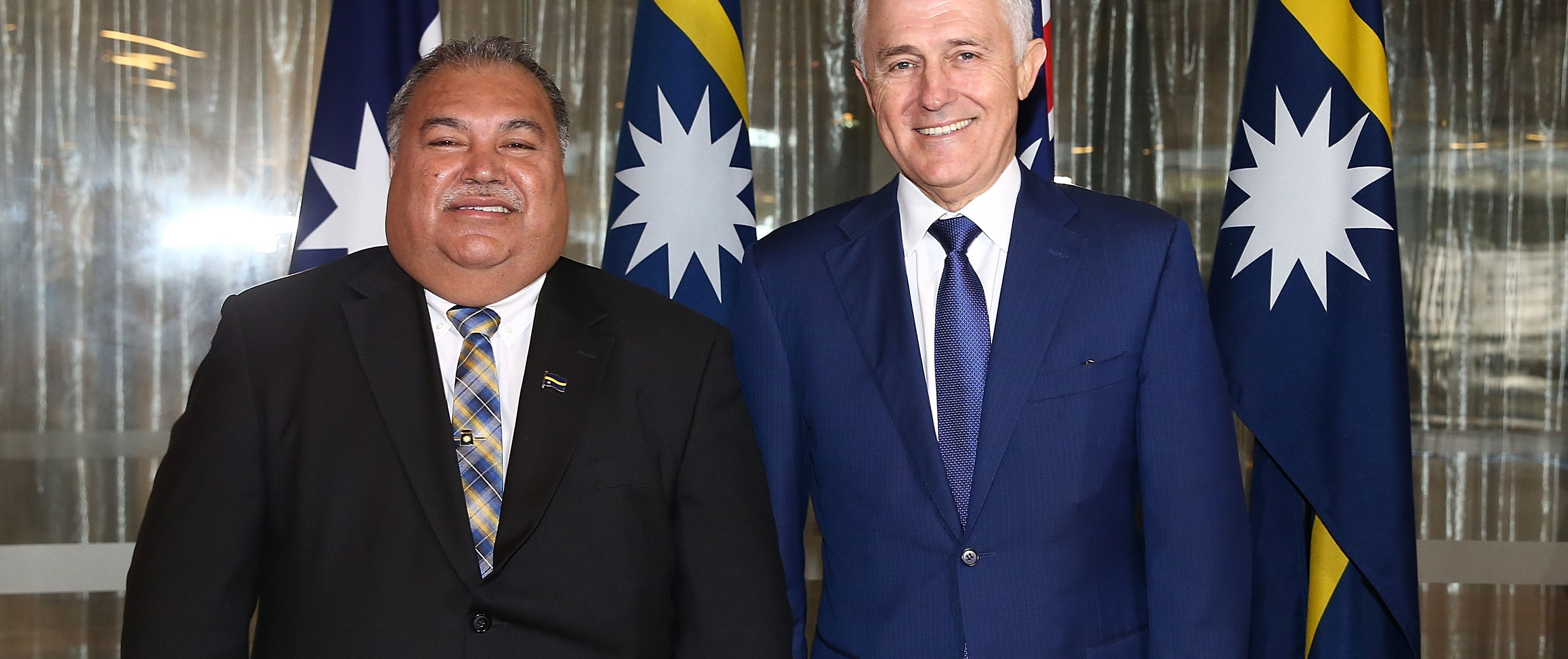 Nauru President Baron Waqa and Australian Prime Minister Malcolm Turnbull, April 2017 (Photo: Mark Metcalfe/Getty Images)