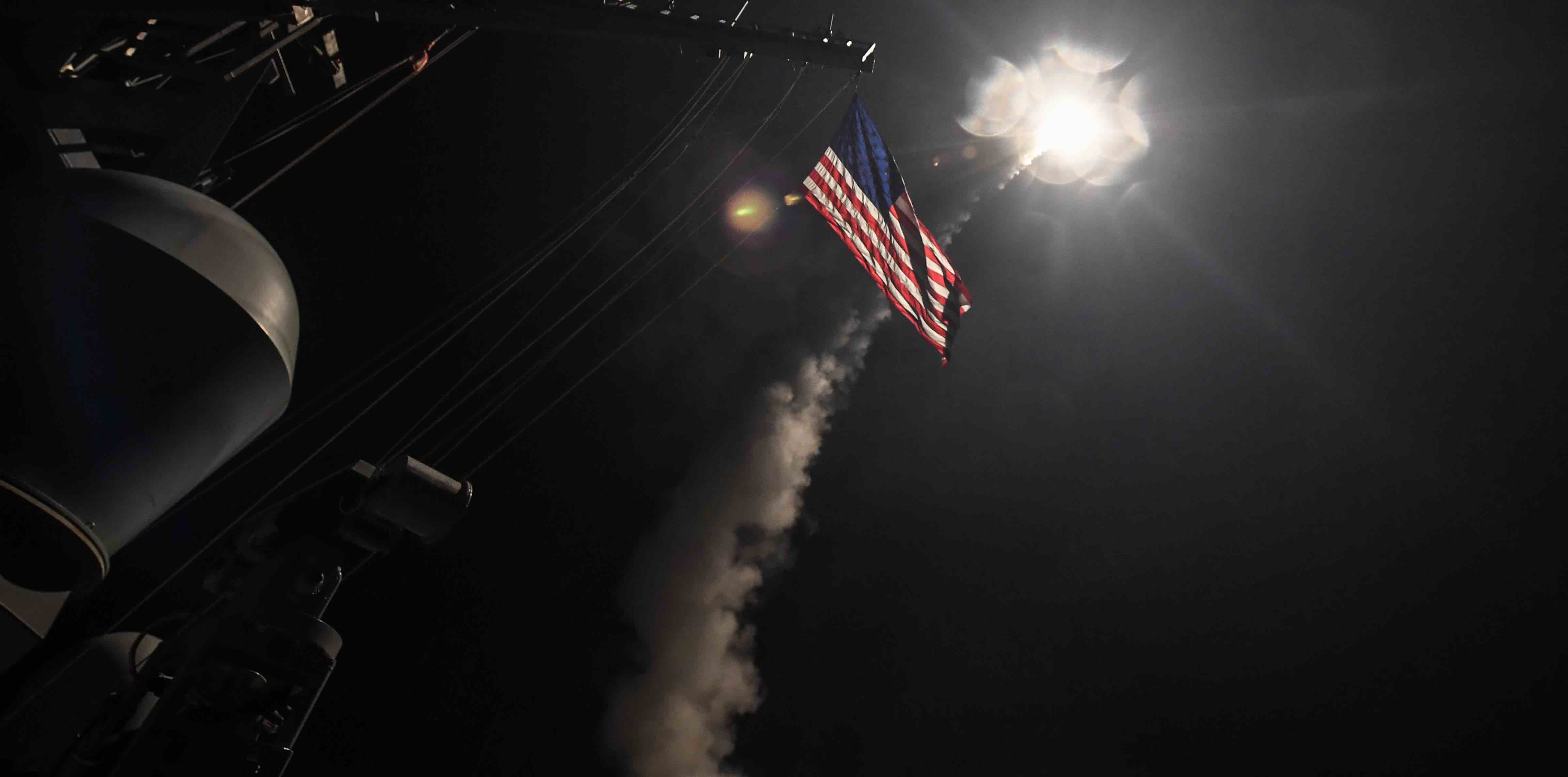 A US Tomahawk missile is fired in April 2017 at a target in Syria in retaliation for a chemical attack (Photo: Ford Williams/US Navy via Getty)