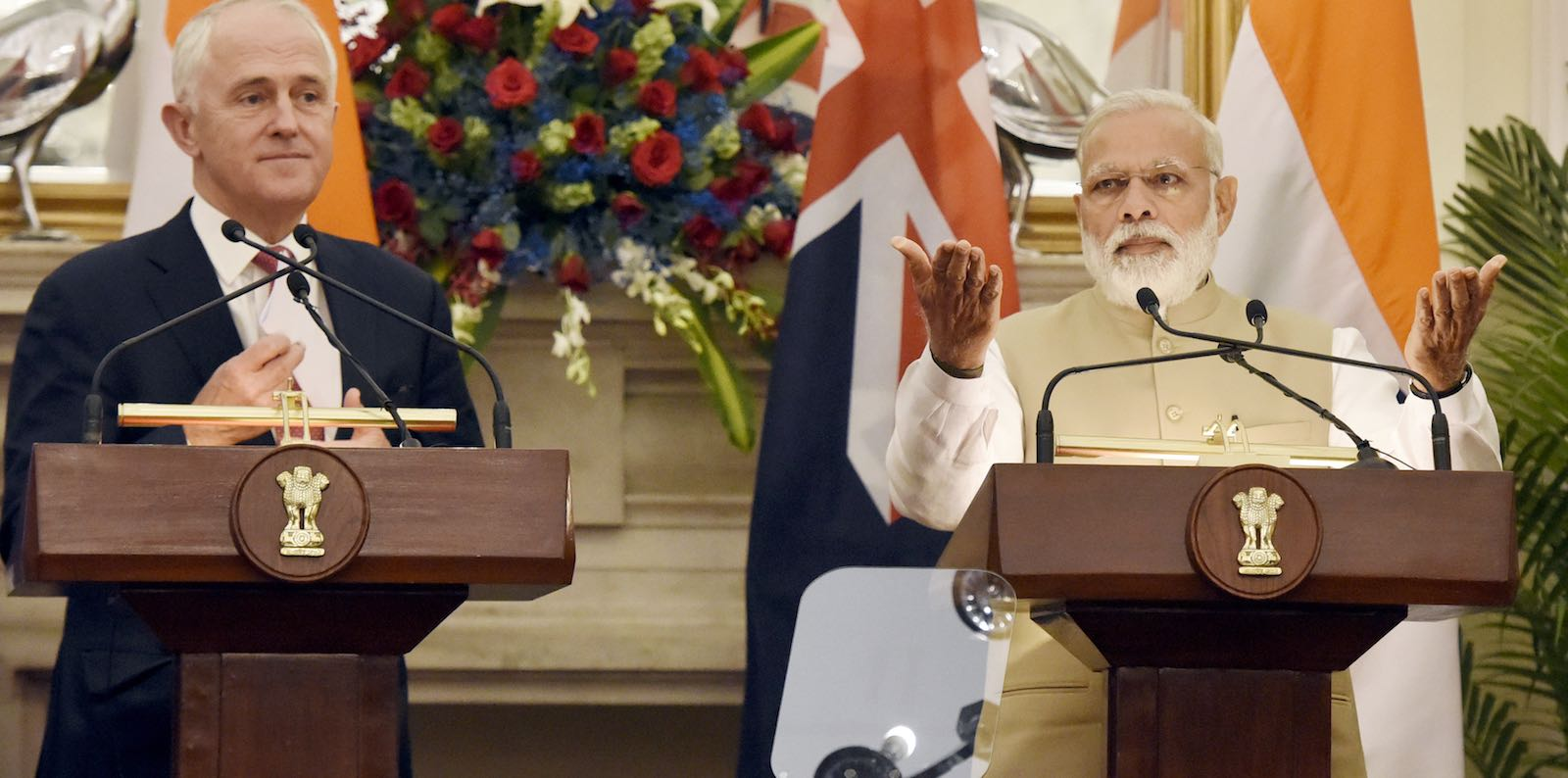 Indian Prime Minister Narendra Modi and Australian Prime Minister Malcolm Turnbull in New Delhi, India, April 2017 (Photo: Sonu Mehta via Getty)