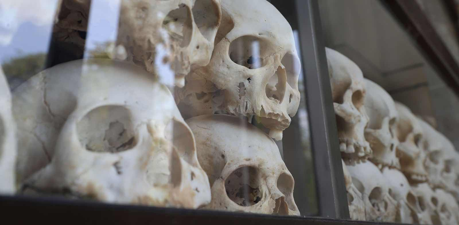 Victims of the Pol Pot regime on display in a memorial tower at the Choeung Ek killing fields (Photo: Satoshi Takahashi via Getty)