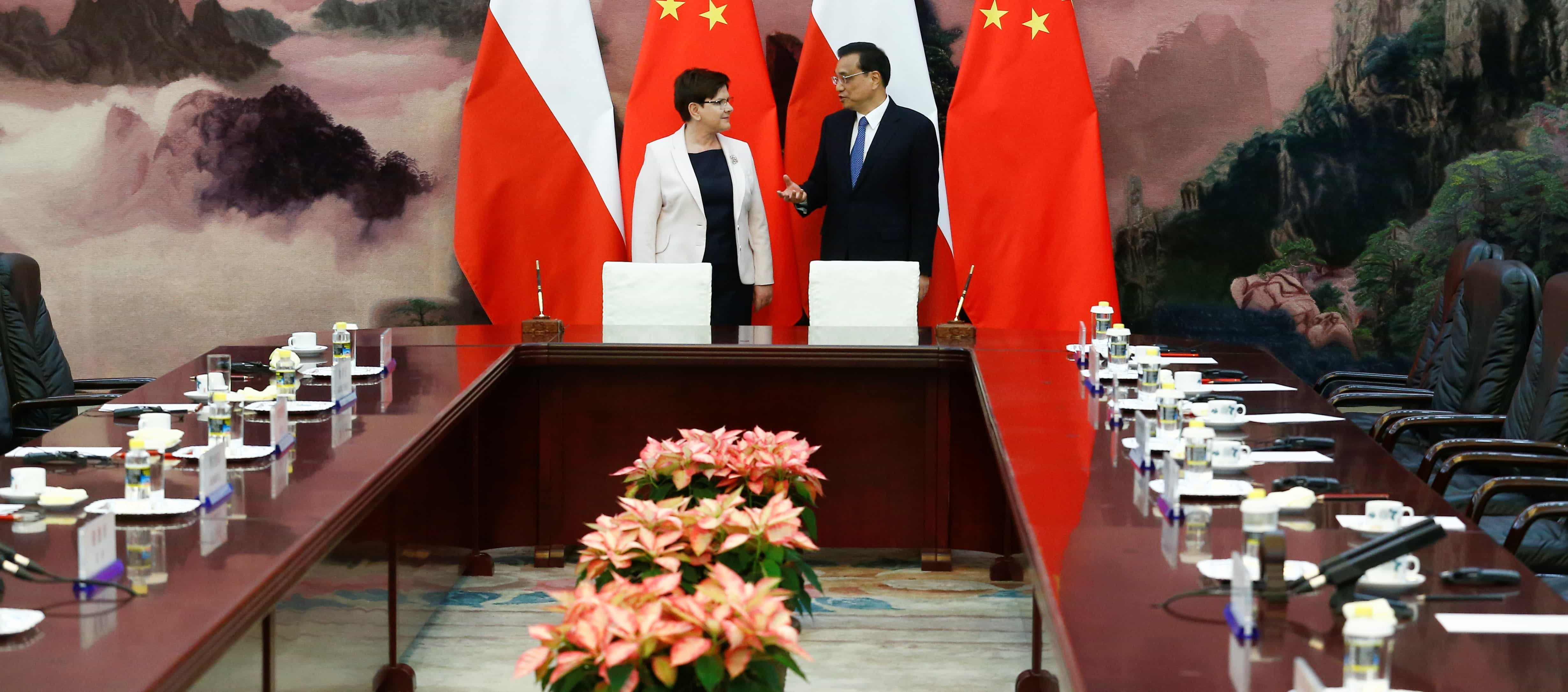Chinese Premier Li Keqiang and Poland's Prime Minister Beata Szydlo, May 2017 (Photo: Thomas Peter/Getty Images)