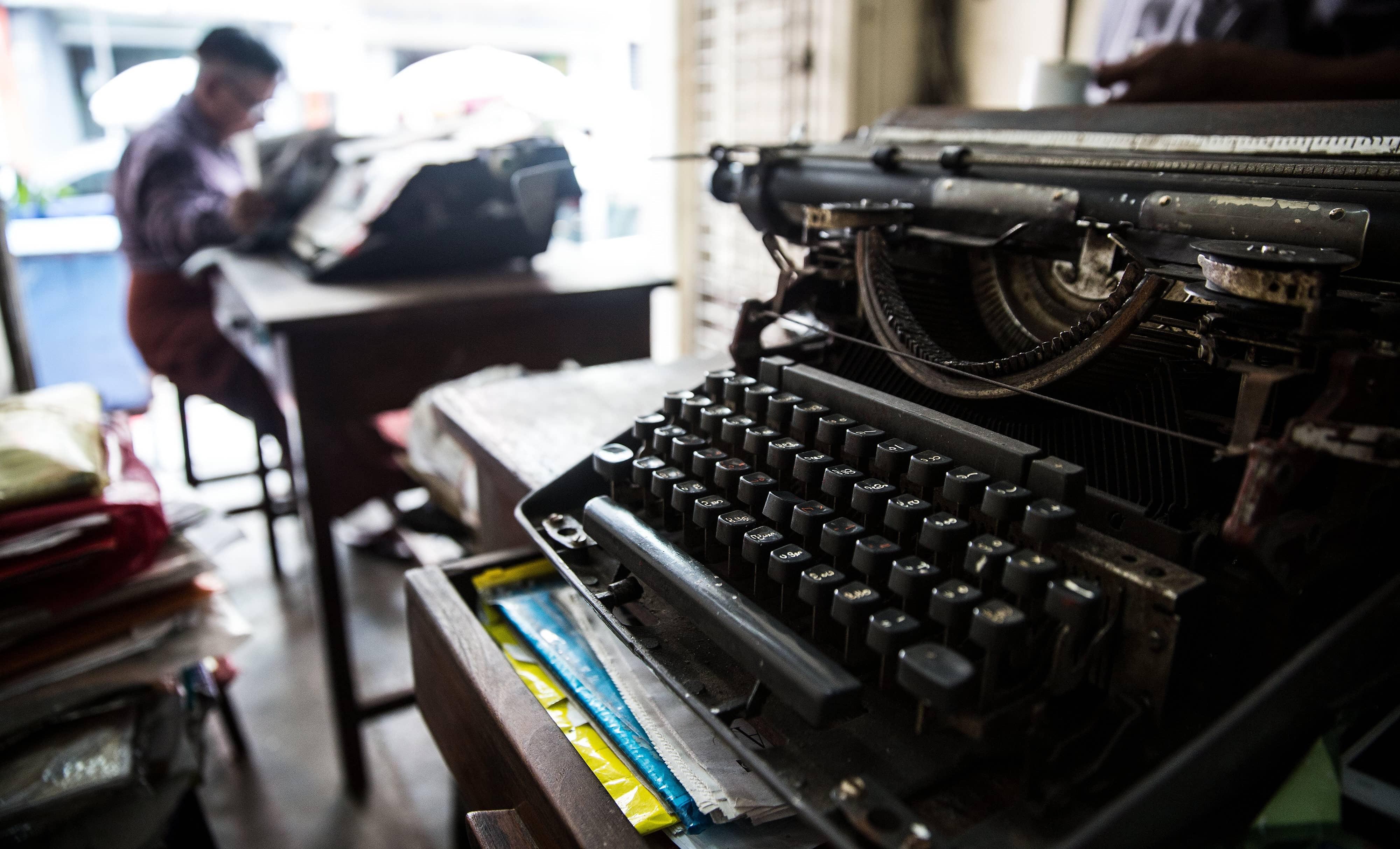Typewriters in Yangon, Myanmar, 2017 (Photo: Getty Images/Bloomberg)