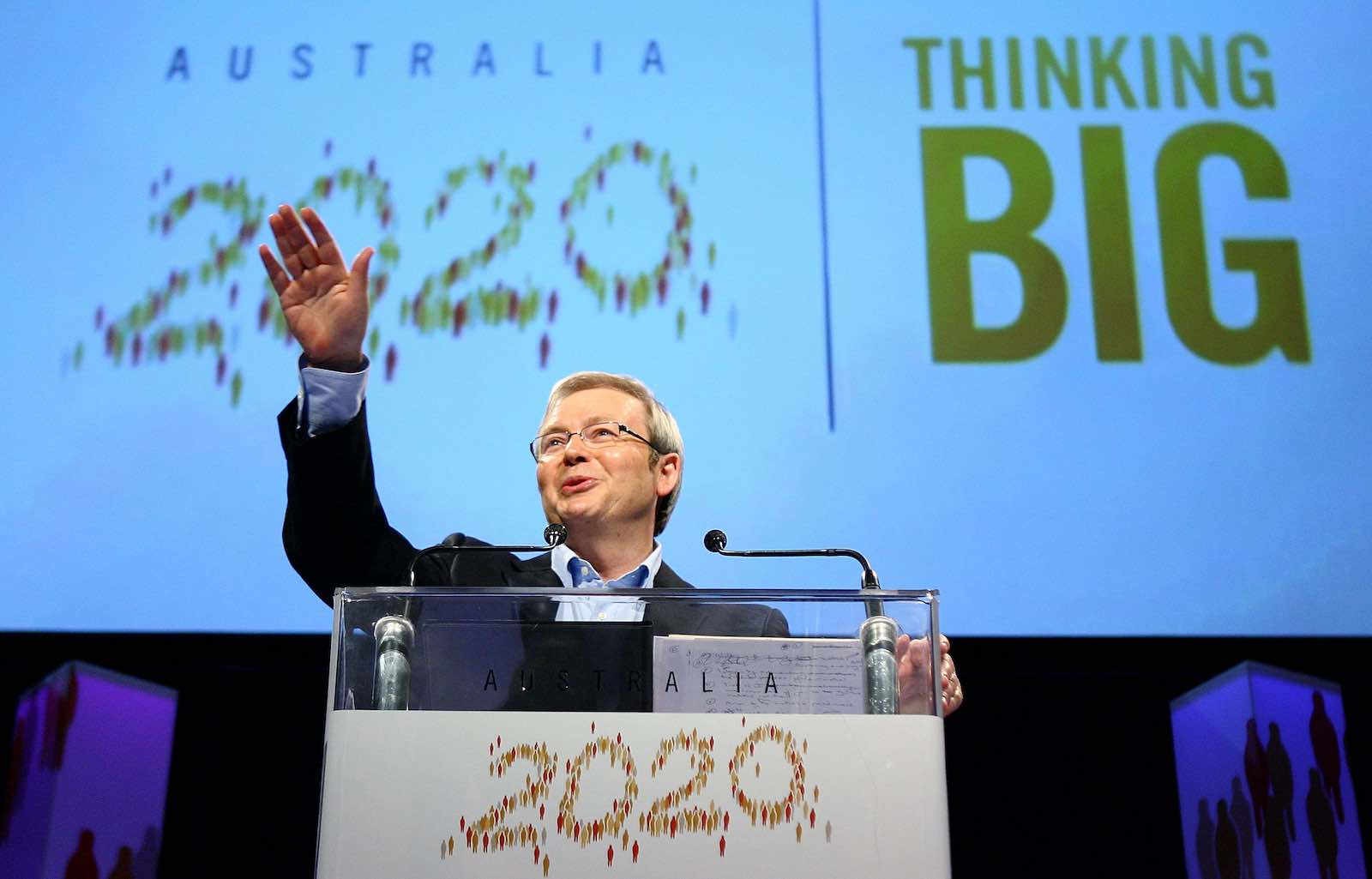 Kevin Rudd, then Prime Minister, opens day one of the Australia 2020 Summit held at Parliament House, Canberra, 19 April 2008 (Mark Nolan/Getty Images)