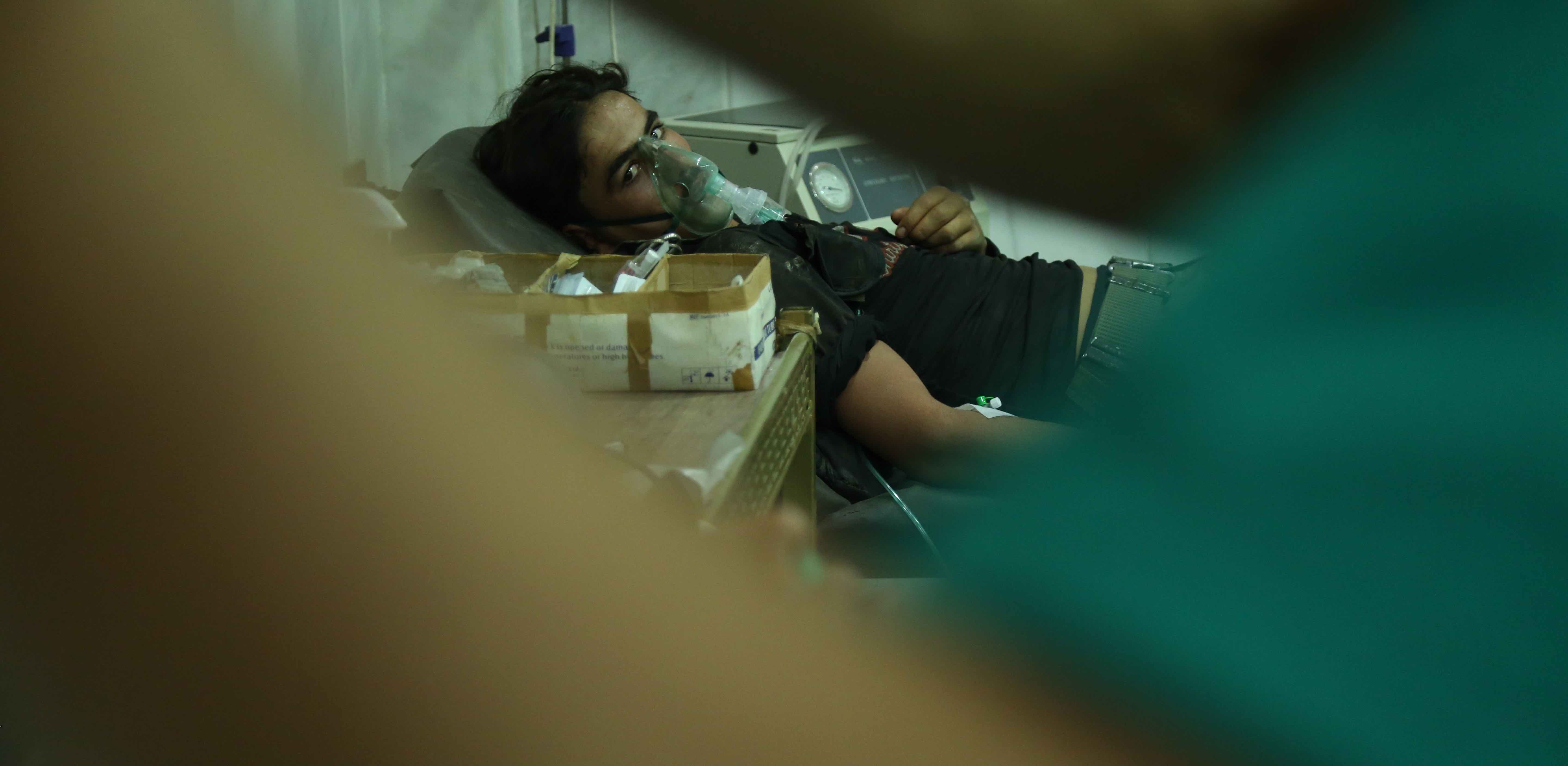 A man receives medical treatment after an Assad regime's alleged chemical gas attack (Photo: Ammar Suleyman/Getty)