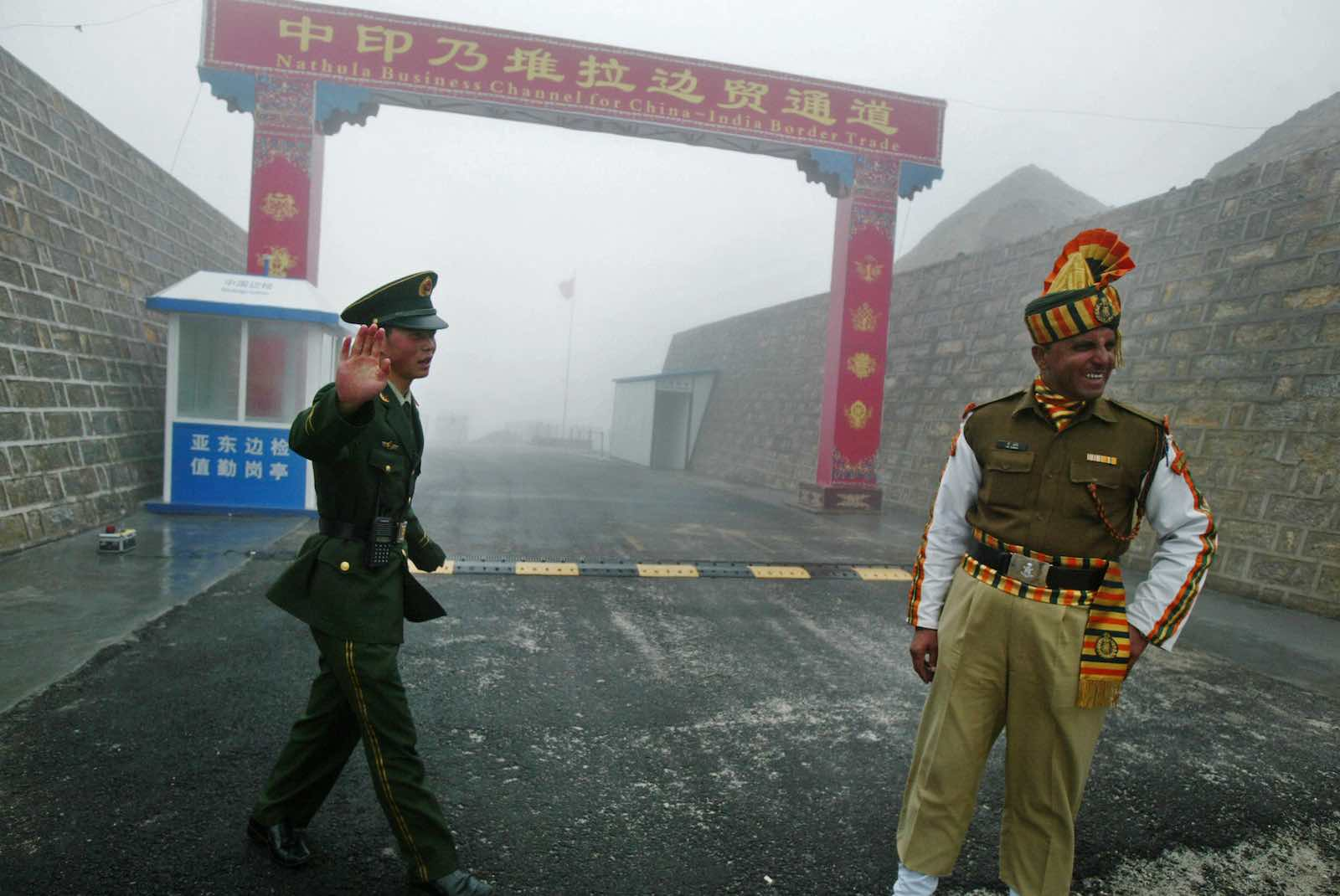 Nathu La border crossing between India and China (Diptendu Dutta/AFP via Getty Images)