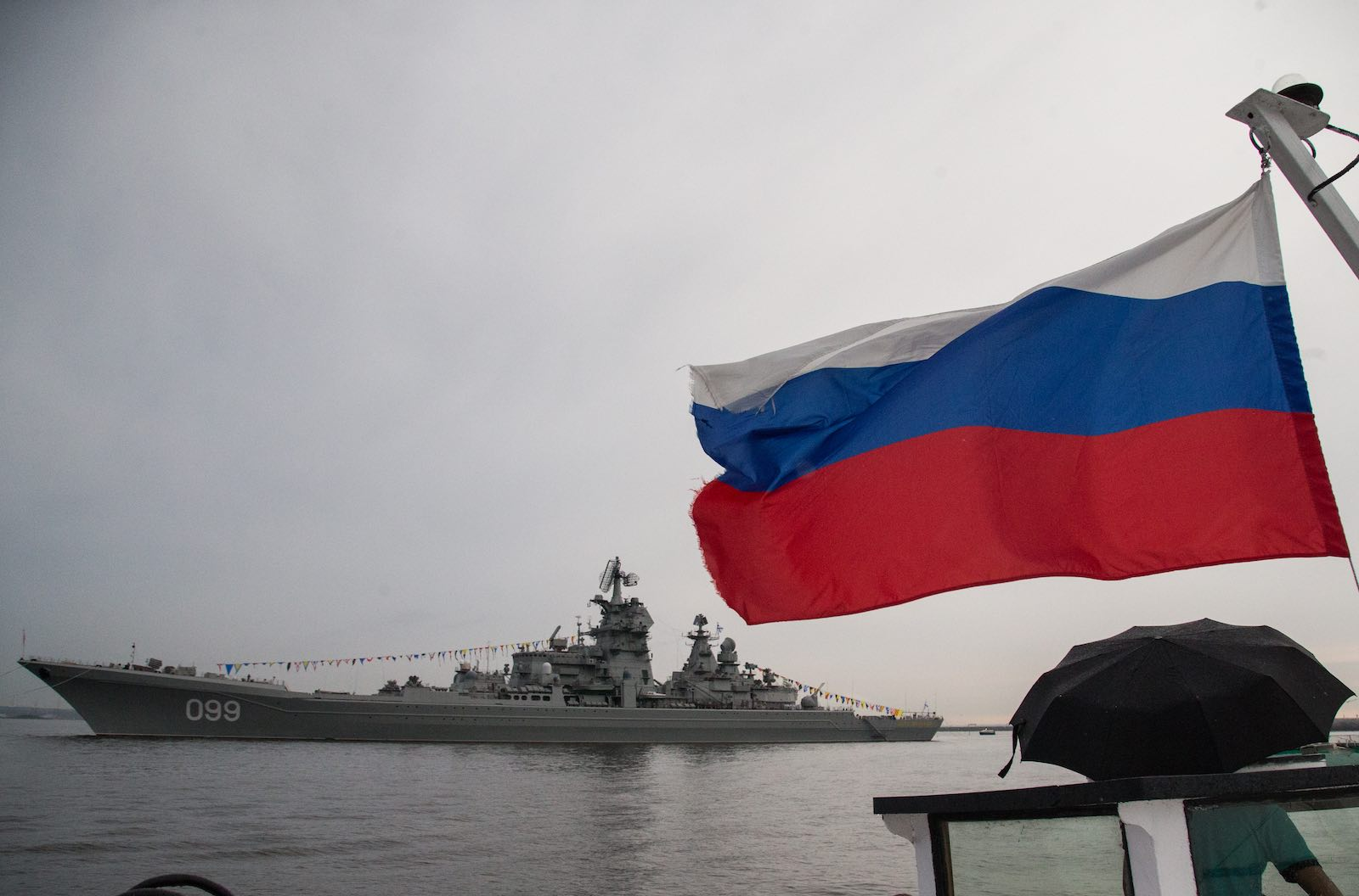 The Russian Navy's Pyotr Velikiy nuclear battle cruiser in St Petersburg (Igor Russak/NurPhoto via Getty Images)
