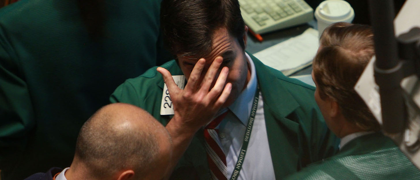 Traders at the New York Stock Exchange, 16 September 2008 (Photo: Spencer Platt/Getty)