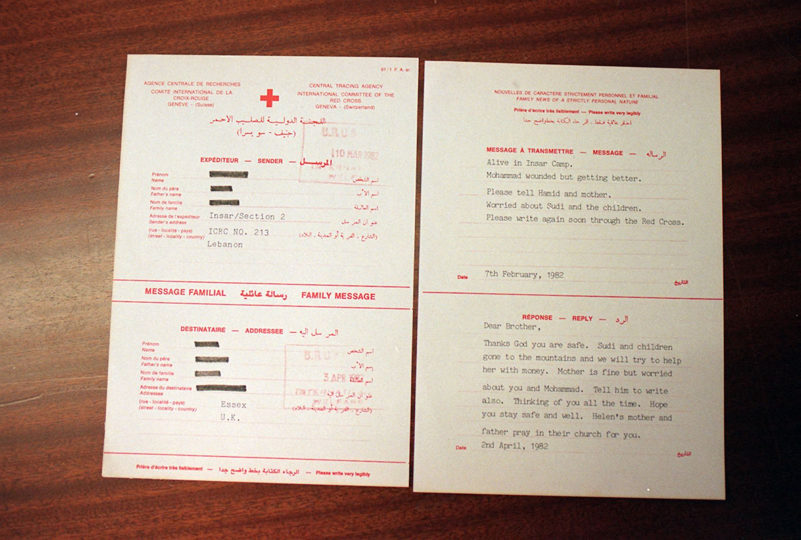 Message forms for the protection of POWs under the Geneva Conventions (Photo: Michael Stephens via Getty)