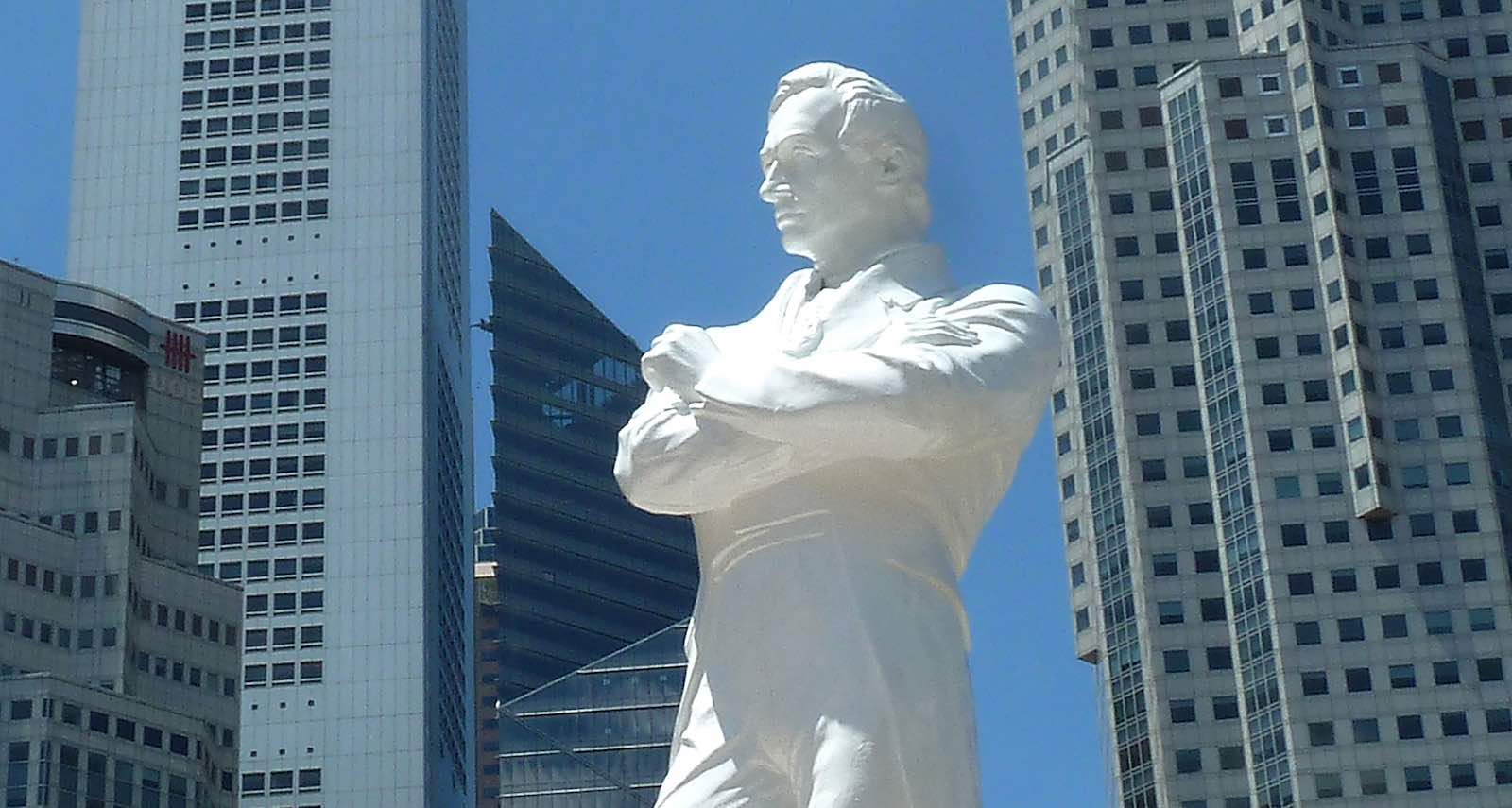 A statue of Sir Stamford Raffles marks the spot where he is believed to have first landed in 1819, on the north bank of the Singapore River (Photo: Jim Dyson/Getty Images)