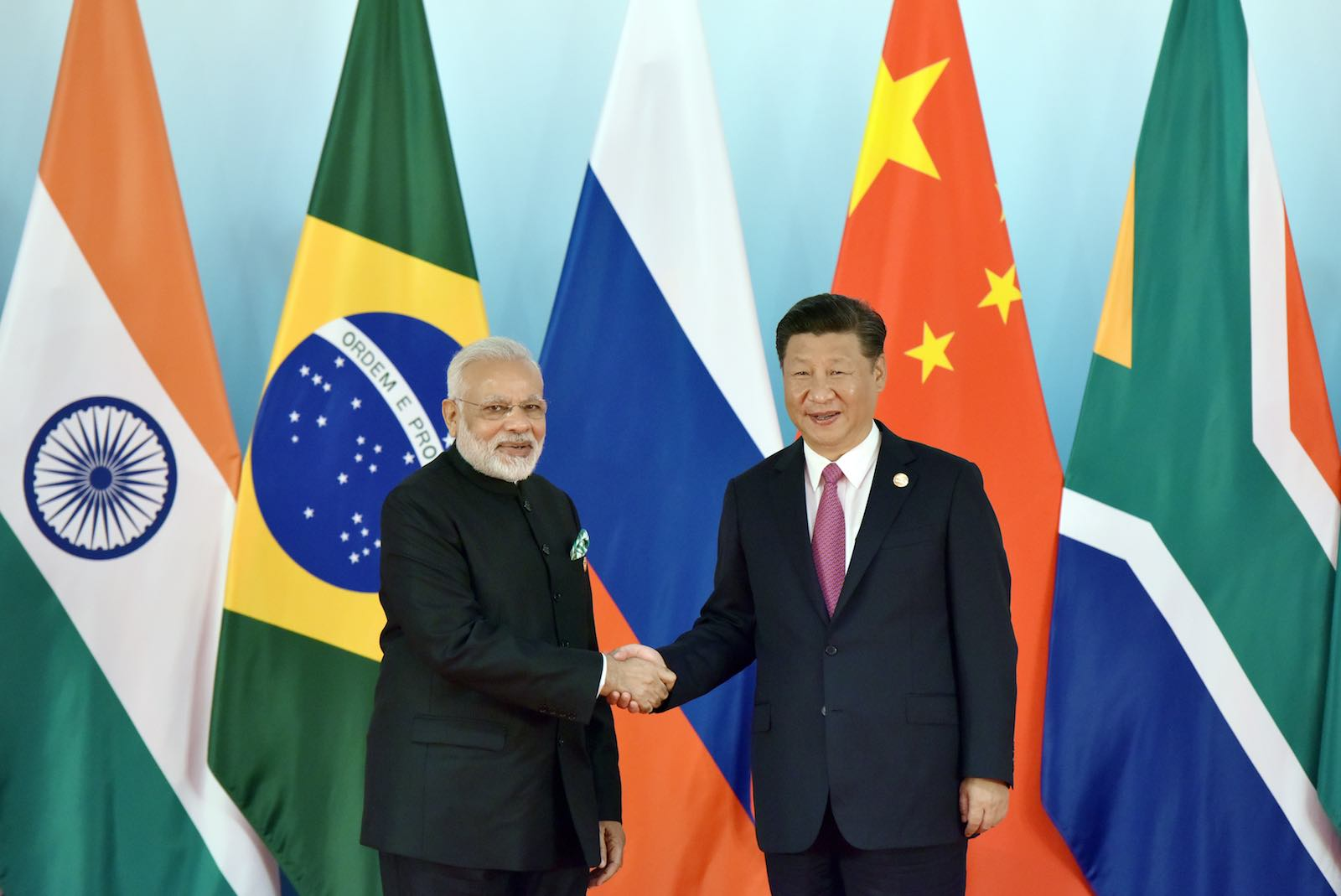 Brighter days: Narendra Modi and Xi Jinping at the 2017 BRICS summit in Xiamen, China (TPG/Getty Images)