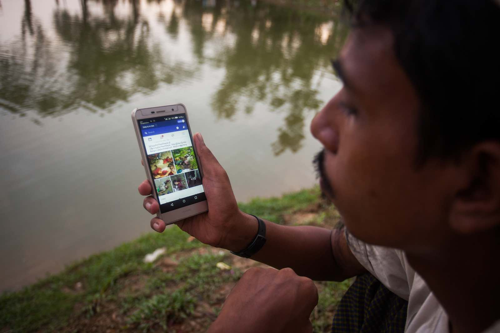"""Restrictions were put in place to undermine purported Rohingya """"criminal activities"""" but mobile technologies are a key tool for camp residents to protect themselves, too (Photo: Ahmed Salahuddin via Getty Images)"""