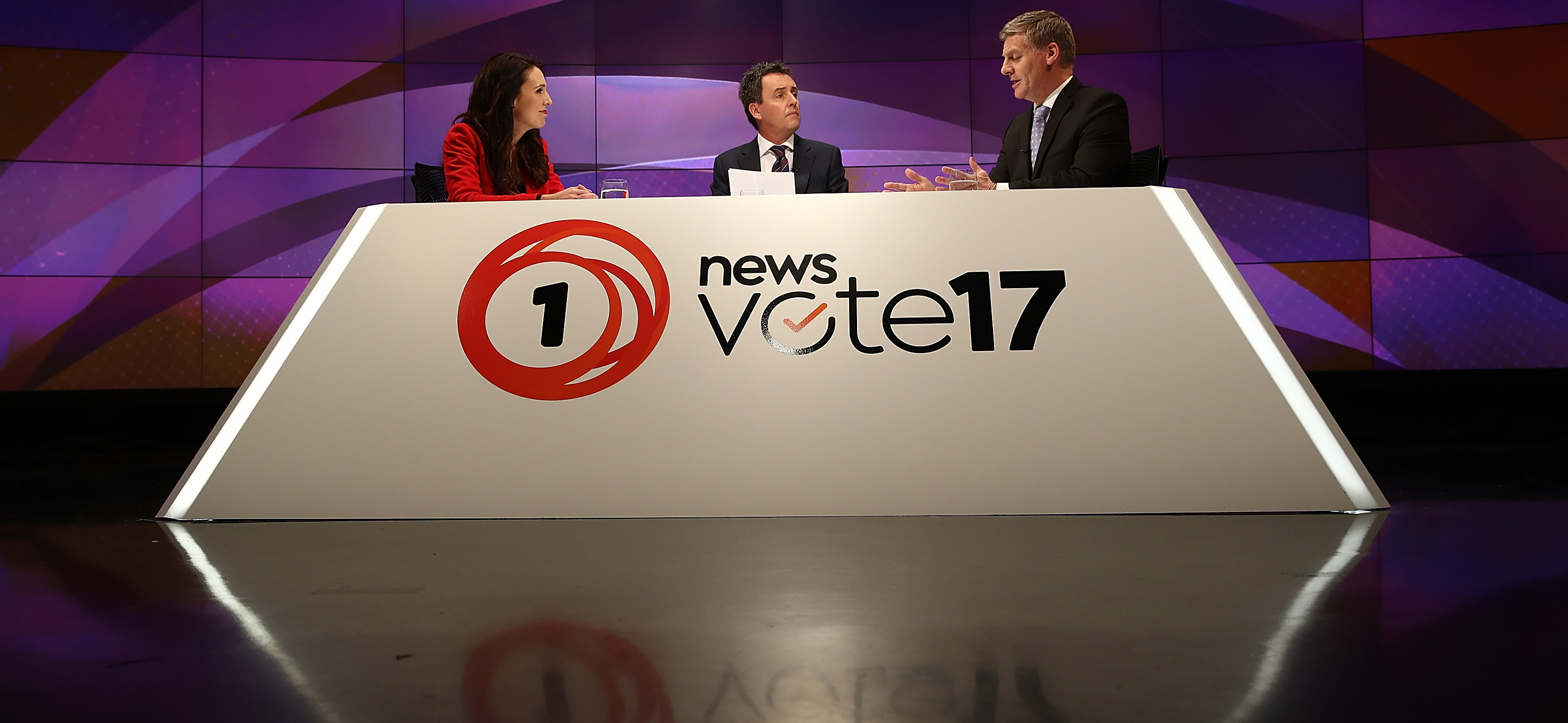 Labour leader Jacinda Ardern and New Zealand Prime Minister Bill English debate on TVNZ, September 2017 (Photo: Phil Walter/Getty Images)