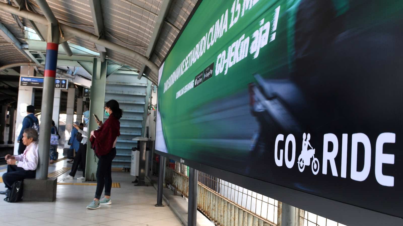 Advertising in Jakarta for courier and digital payment group Gojek, one of the biggest start-ups in Southeast Asia (Goh Chai Hin via Getty Images)