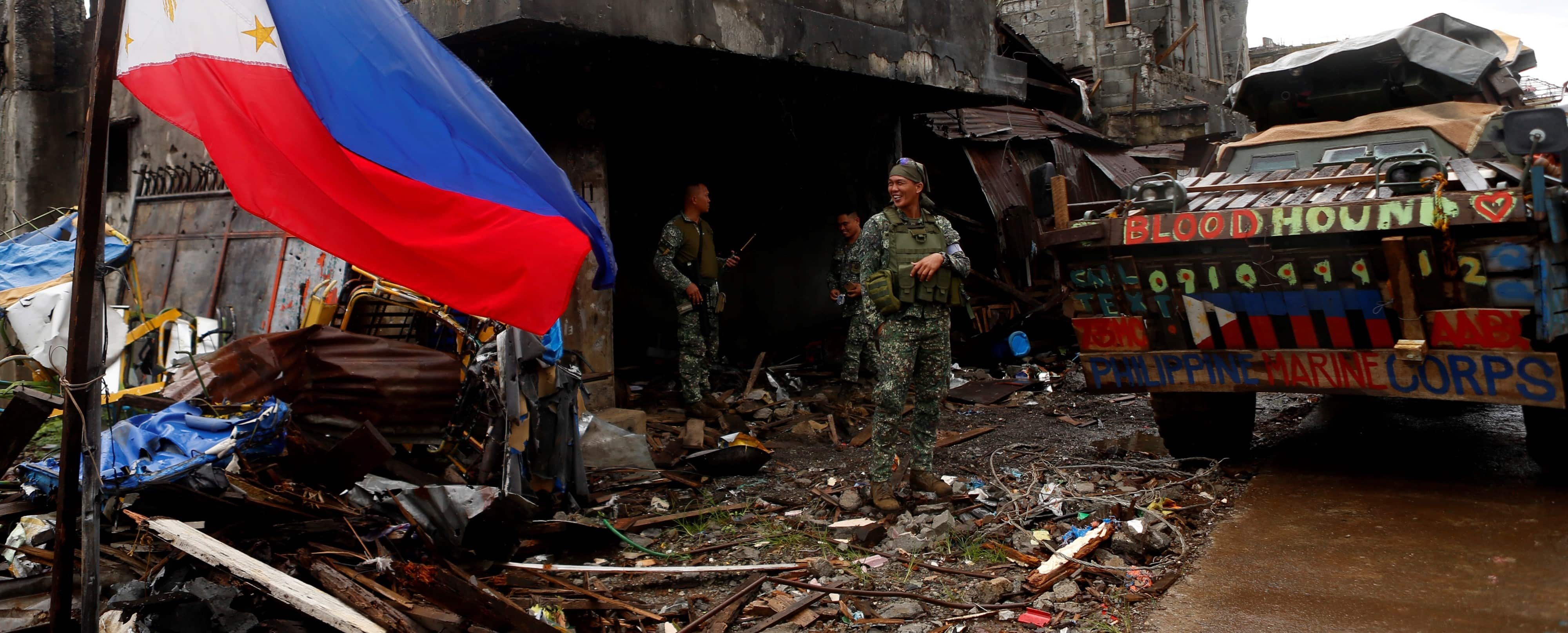 Philippine soldiers in Marawi, October 2017 (Photo: Jeoffrey Maitem/Anadolu Agency/Getty Images)
