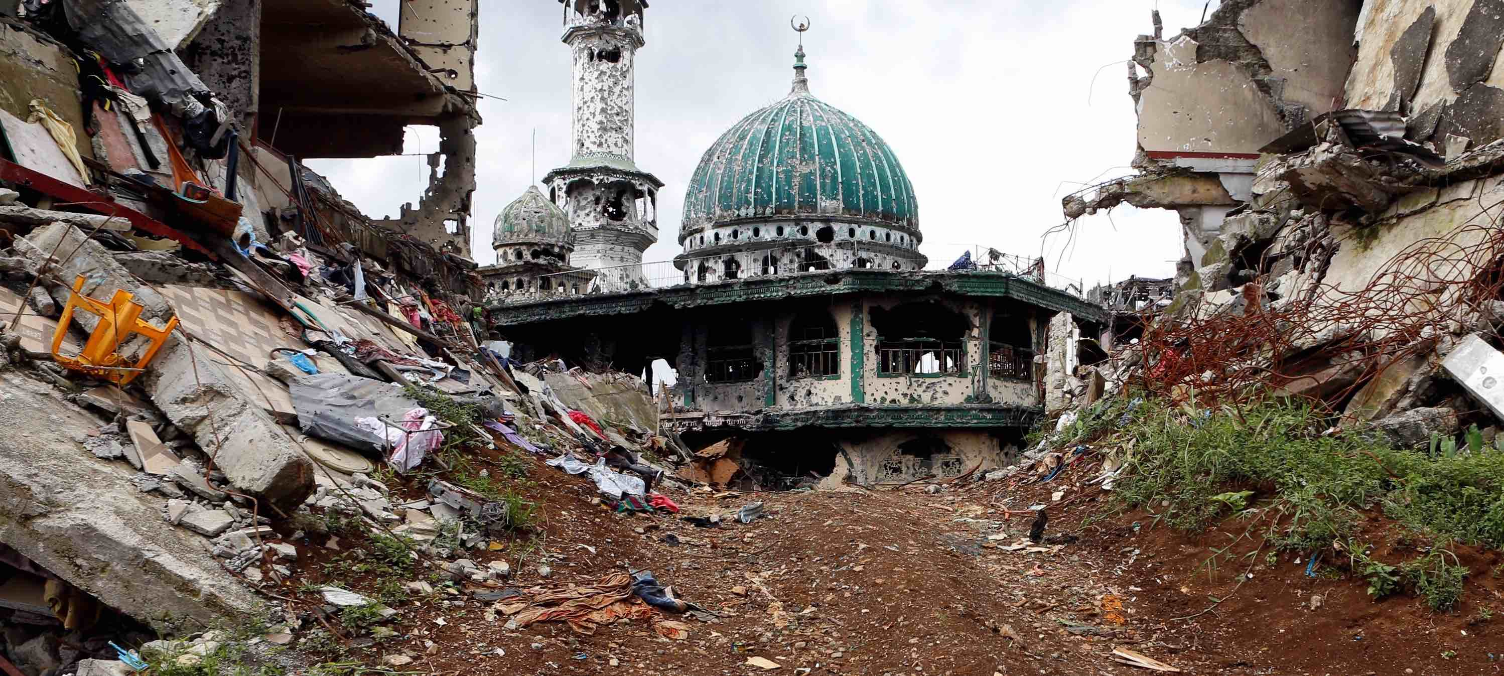 A bullet-riddled mosque following the five-month siege in Marawi (Photo: Jeoffrey Maitem via Getty)
