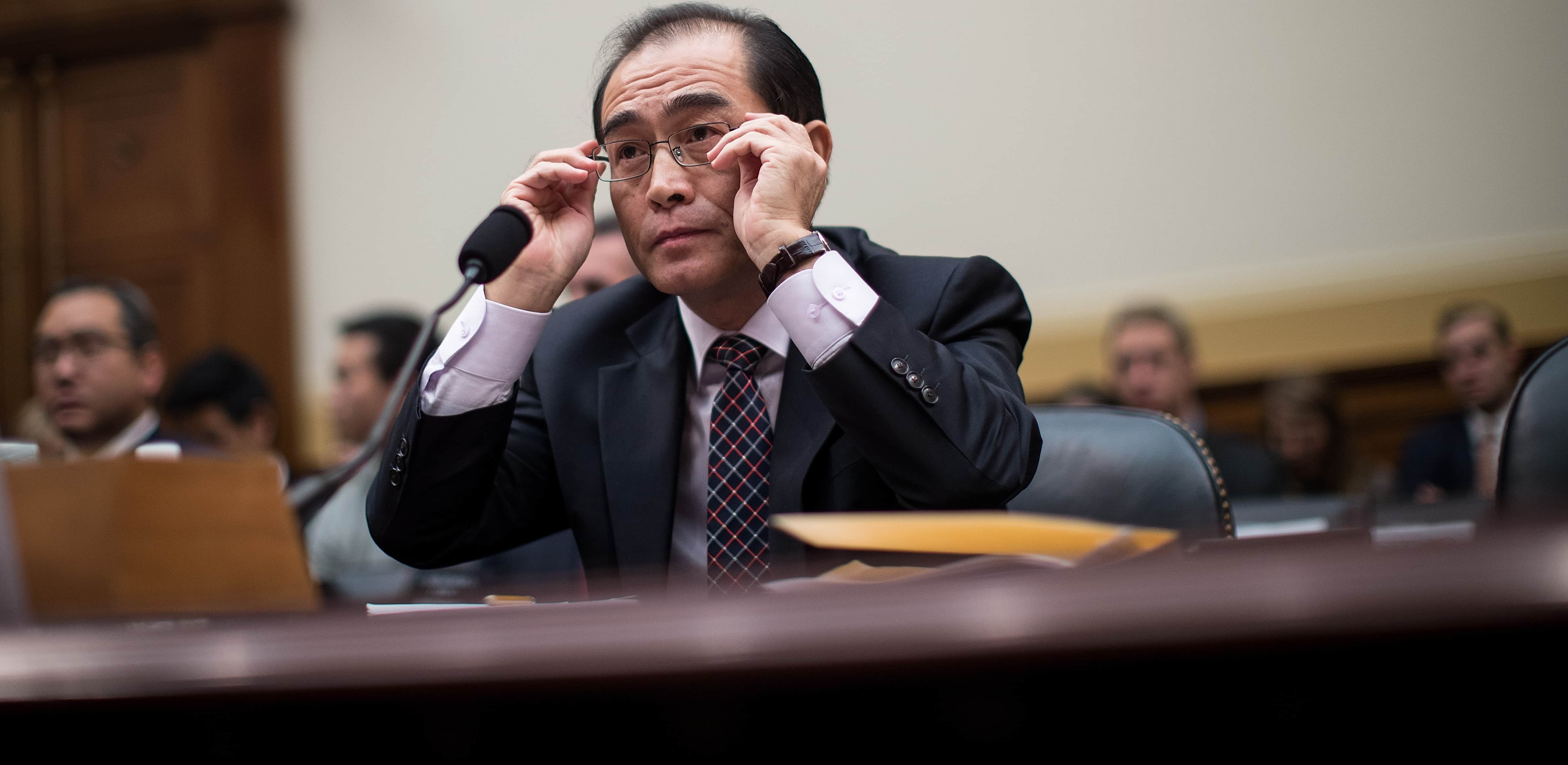 Thae Yong-ho, former chief of mission at the North Korean embassy in the UK, testifies during a US House Foreign Affairs Committee hearing, November 2017 (Photo: Drew Angerer/Getty Images