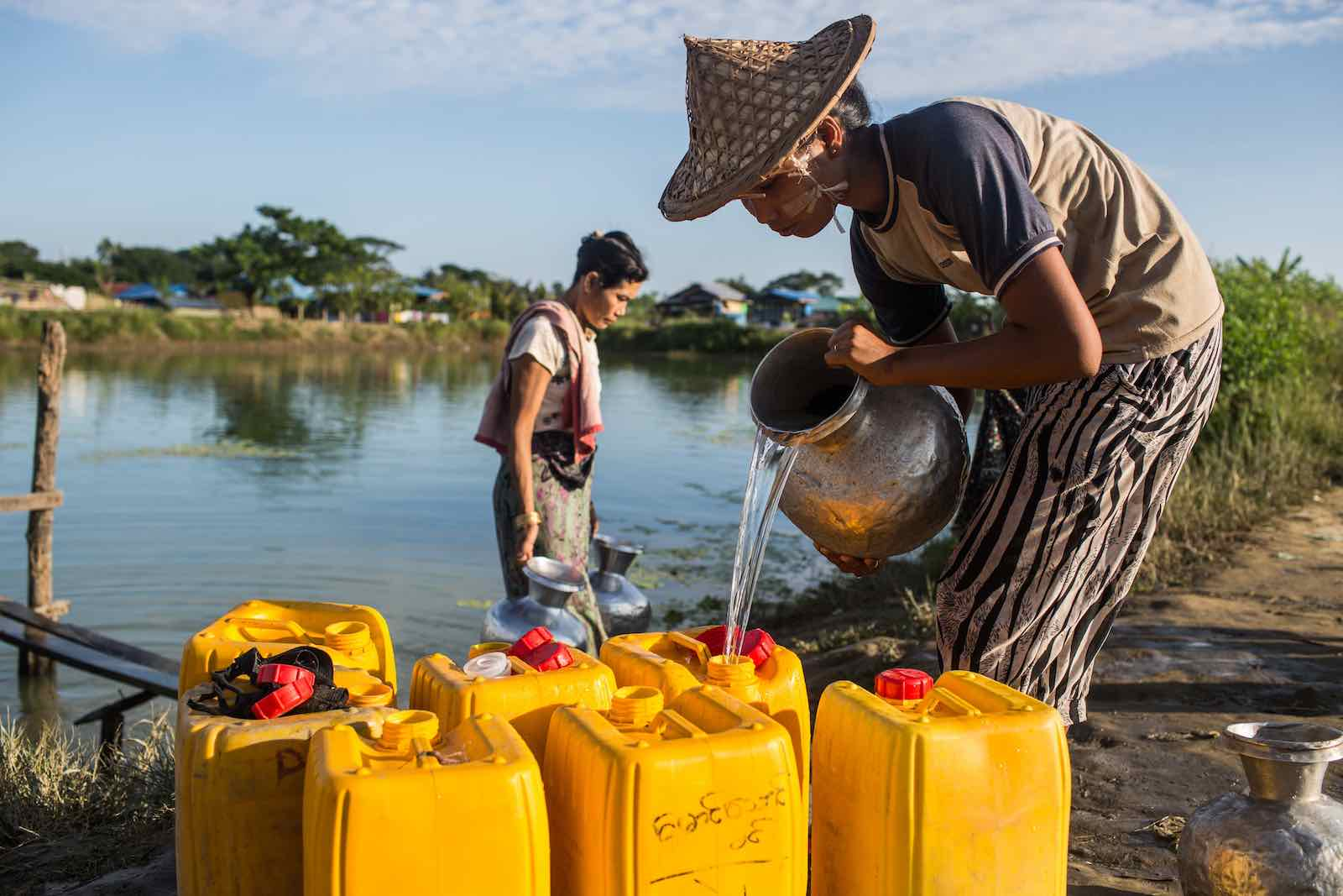 Collecting water in a camp for Rohingya Muslims displaced by the 2012 violence in Rakhine state, November 2017 in Sittwe, Myanmar (Lauren DeCicca/Getty Images)