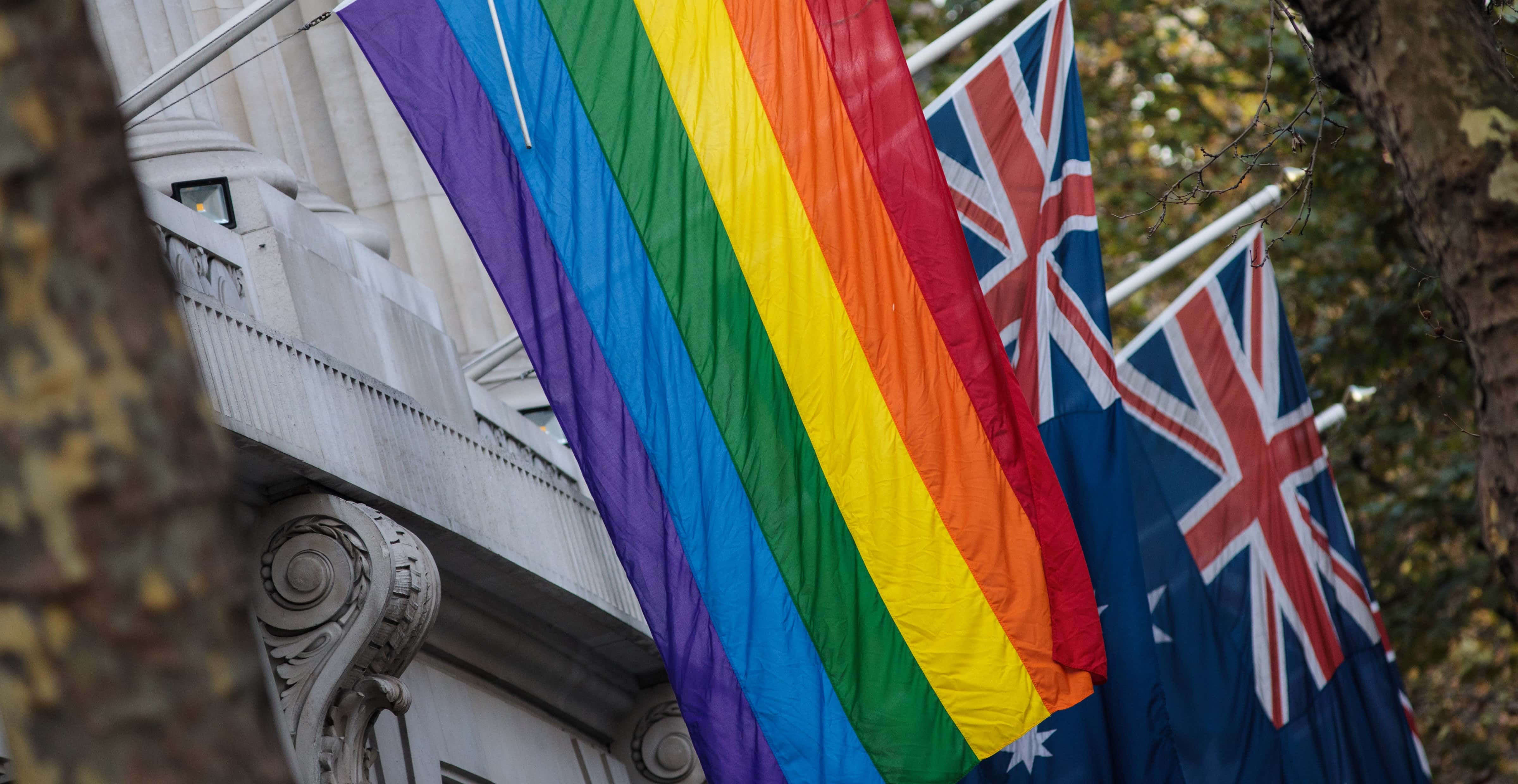 The rainbow flag hanging outside Australia House in London, November 2017 (Photo: Jack Taylor/Getty Images)