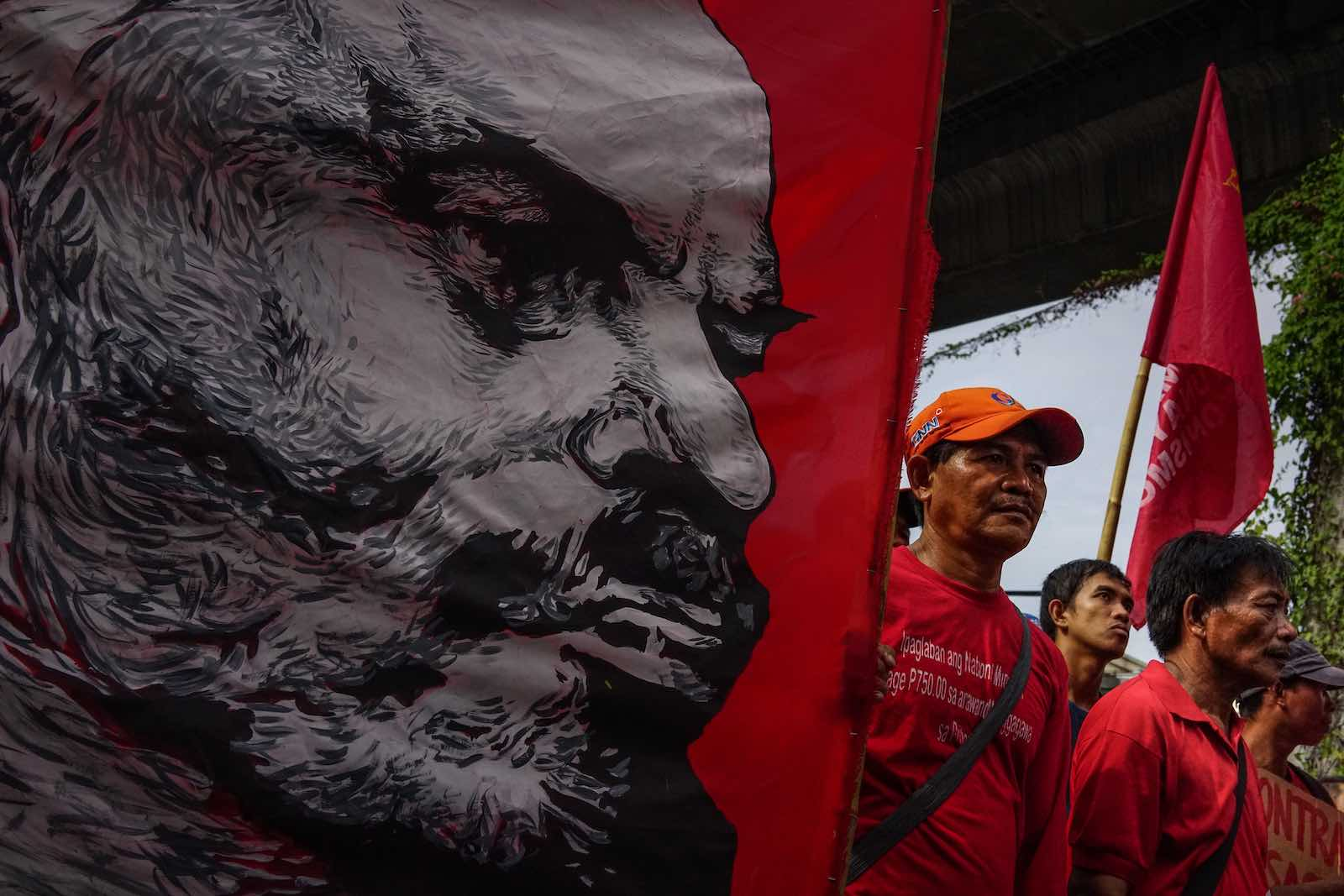 A November 2017 protest in Manila against President Rodrigo Duterte after his withdrawal from peace talks with communist rebels (Jes Aznar/Getty Images)