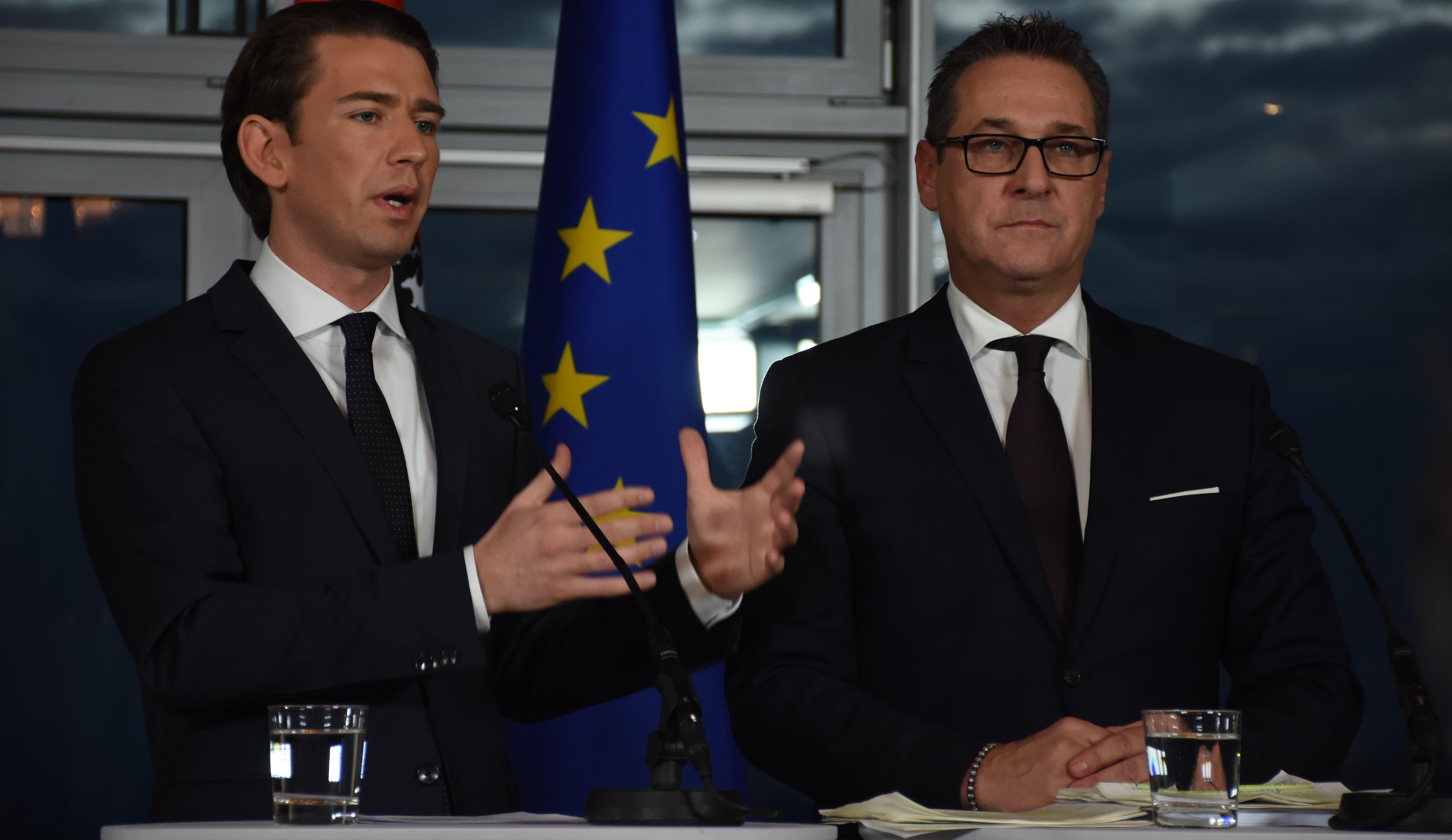 Austria's coalition partners Sebastian Kurz (left) and Heinz-Christian Strache (Photo: Askin Kiyagan/Getty)