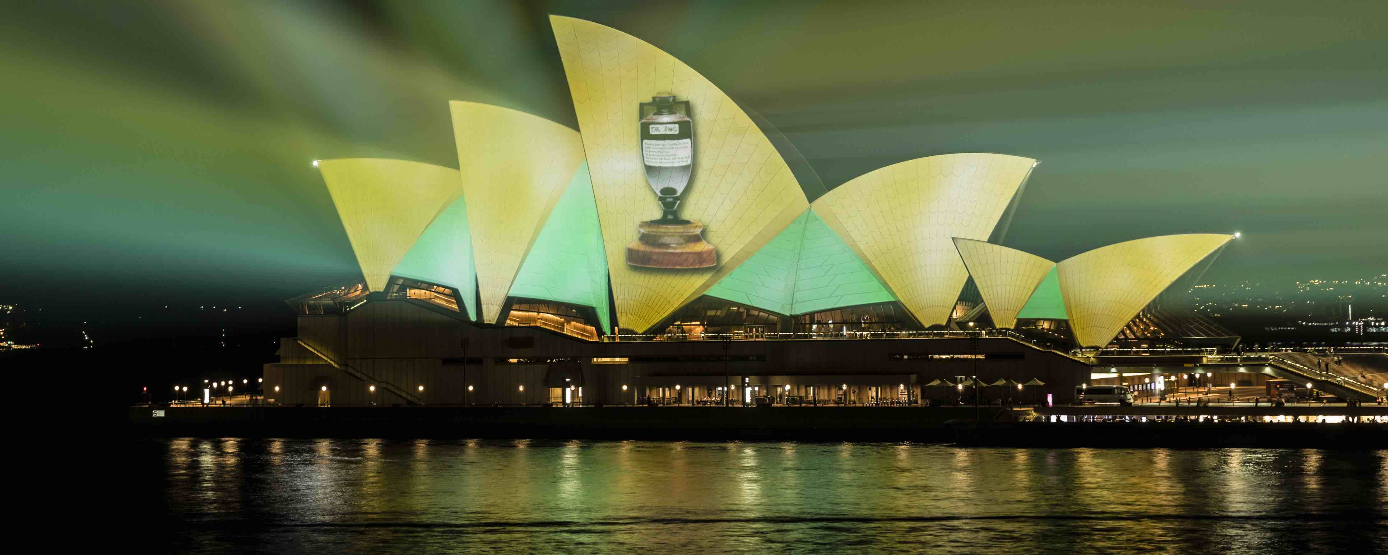 The Ashes logo projected on the Sydney Opera House during the New Year Test in January (Photo: Brook Mitchell/Getty)