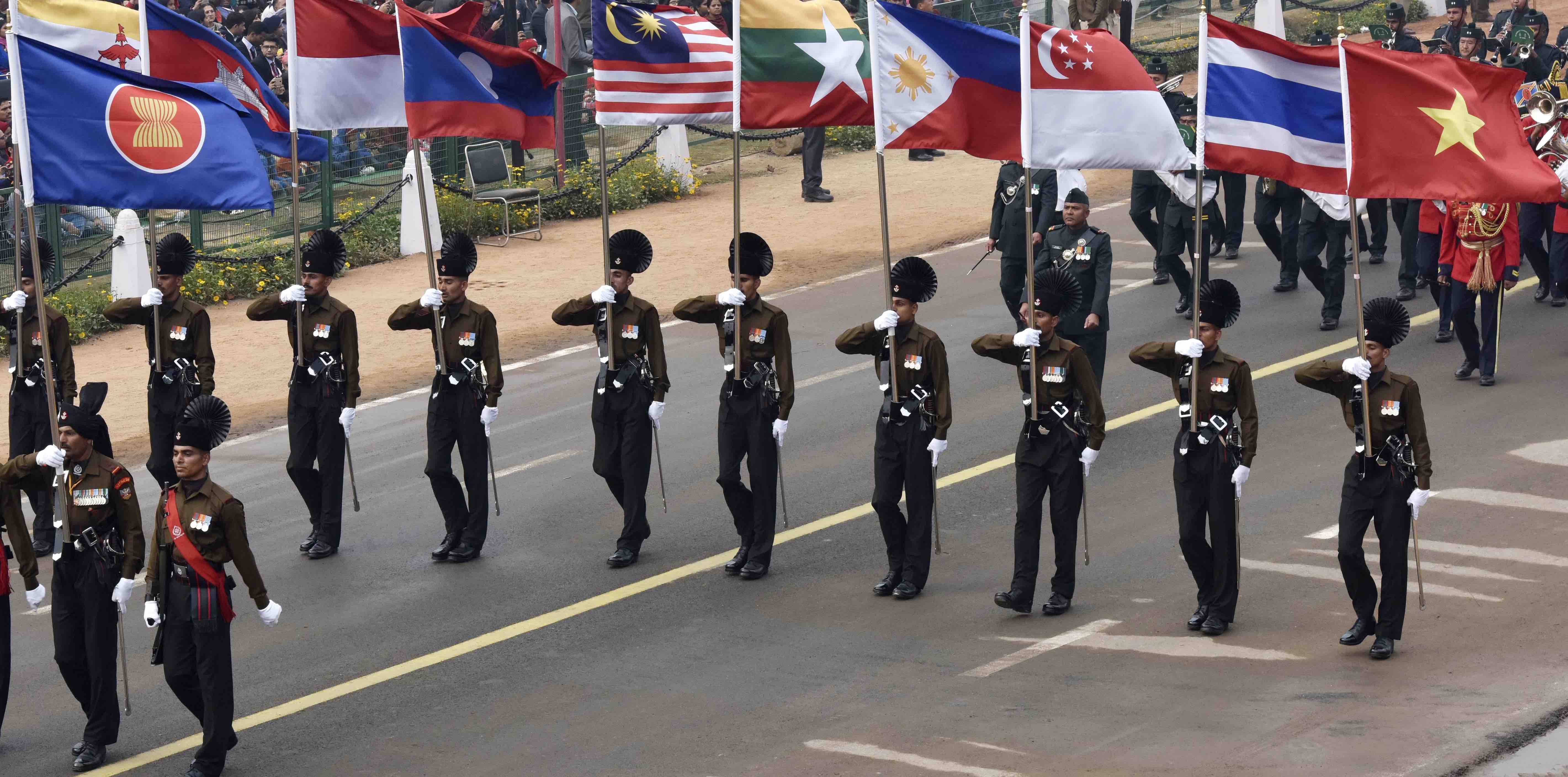 ASEAN flags on parade before the India-ASEAN summit in January (Photo: Mohd Zakir/Getty)