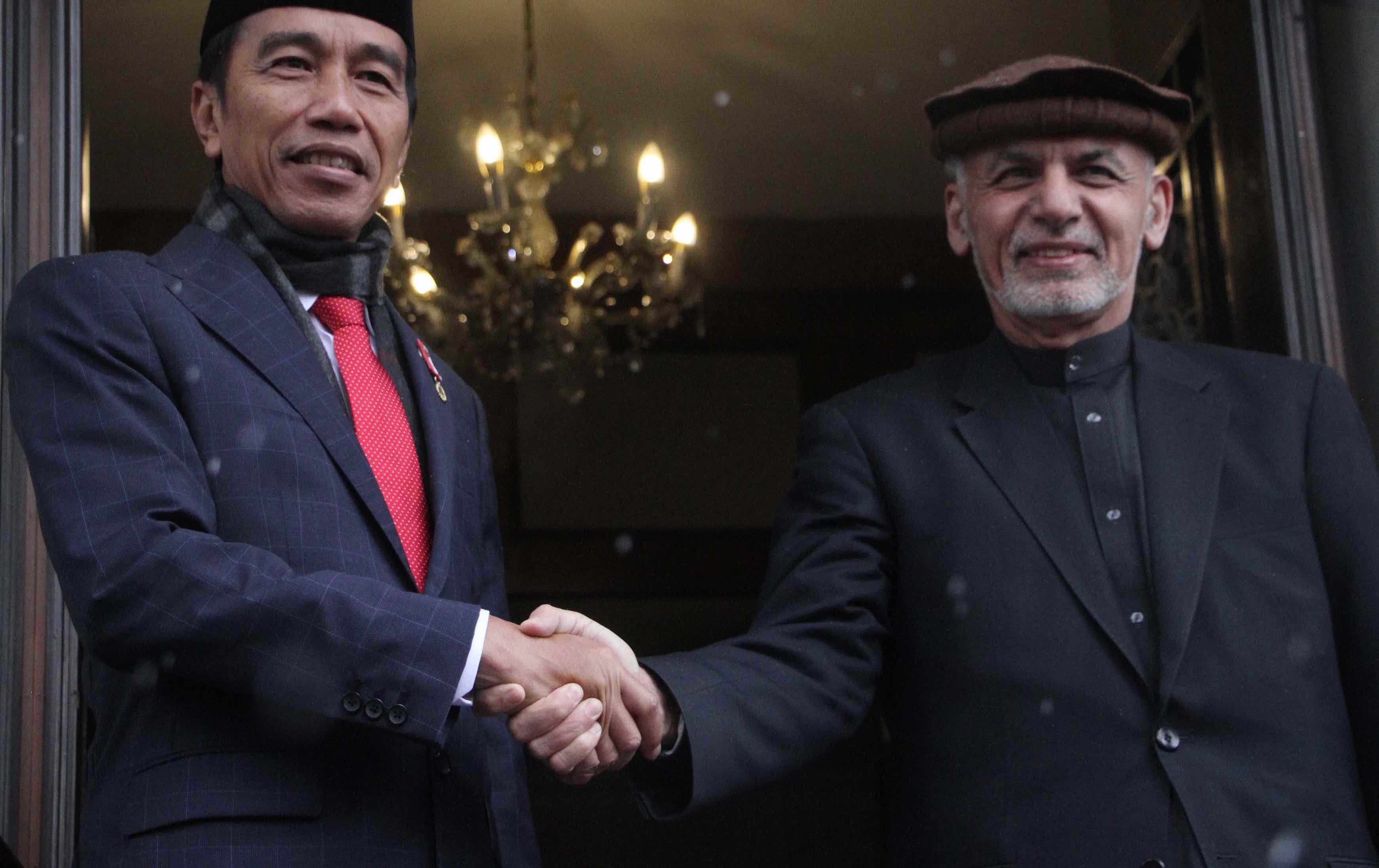 Indonesia's Joko Widodo and Afghan President Ashraf Ghani in Kabul, Afghanistan, in January (Photo: Haroon Sabawoon/Getty)