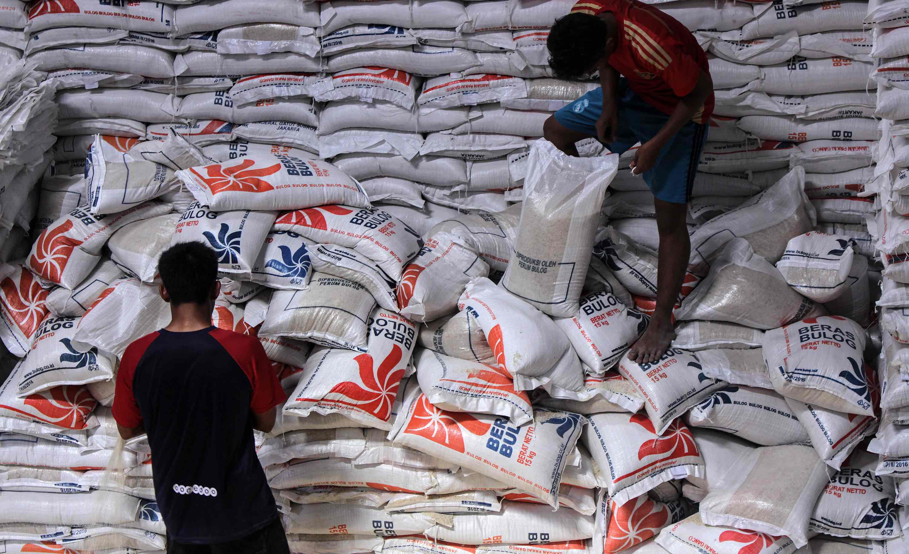 Workers distribute free rice packages from a warehouse in Aceh (Photo: Maskur Has/Getty)