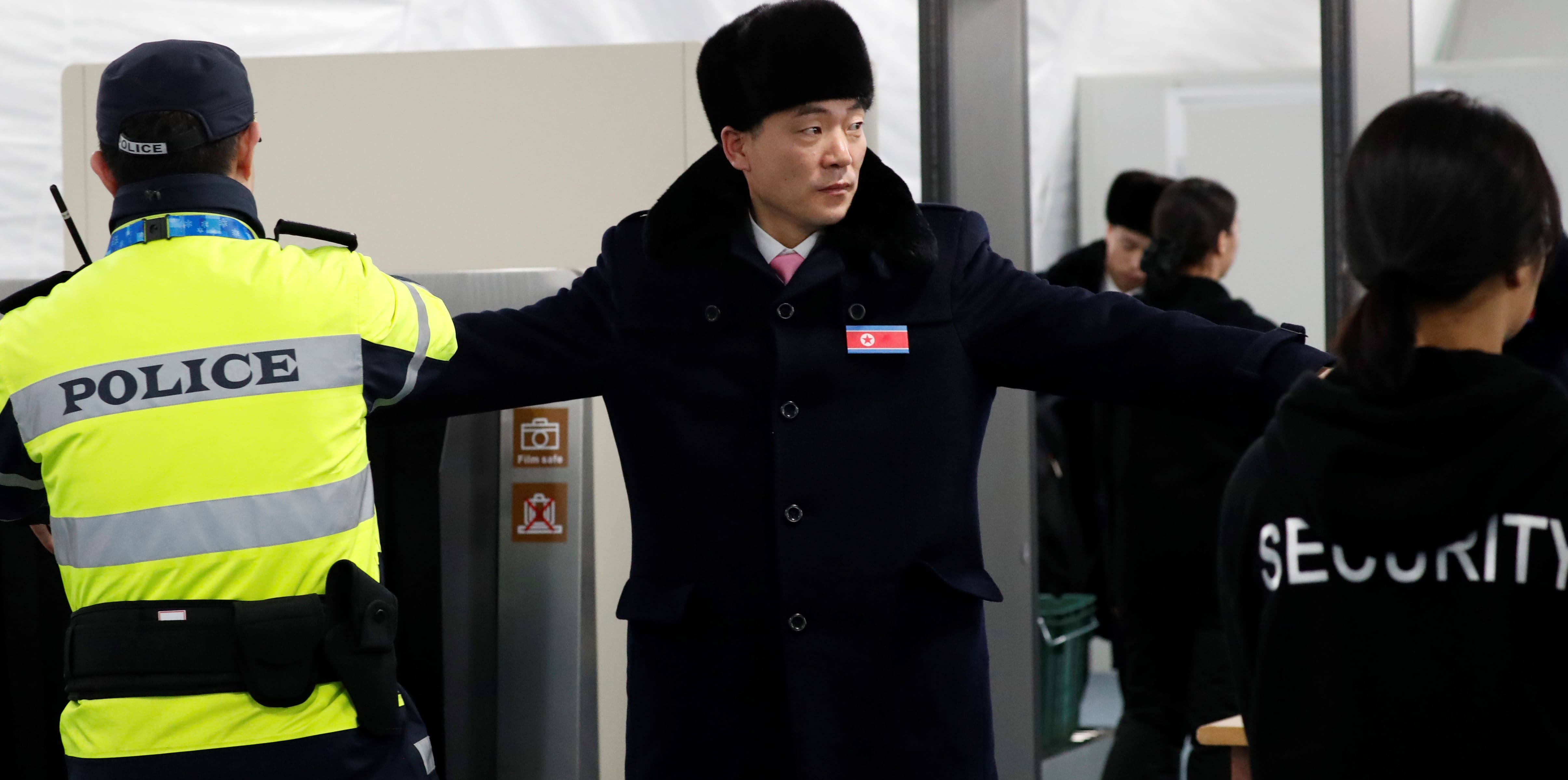 Members of a North Korean delegation arriving at the Olympic Village for the Pyeongchang Olympics, February 2018 (Photo: Getty Images)