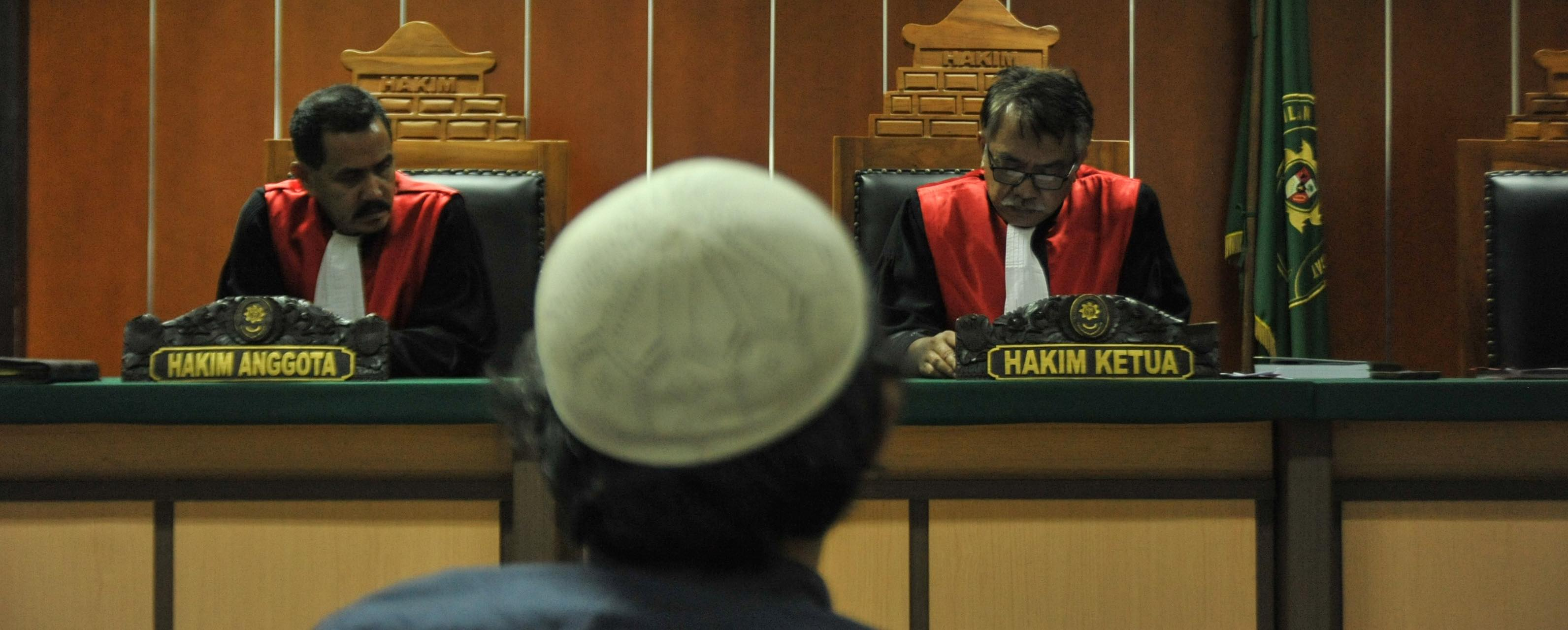 Indonesian arms smuggler Suryadi Mas'ud is sentenced in West Jakarta District Court on 6 February (Photo: Anton Raharjo/Getty)