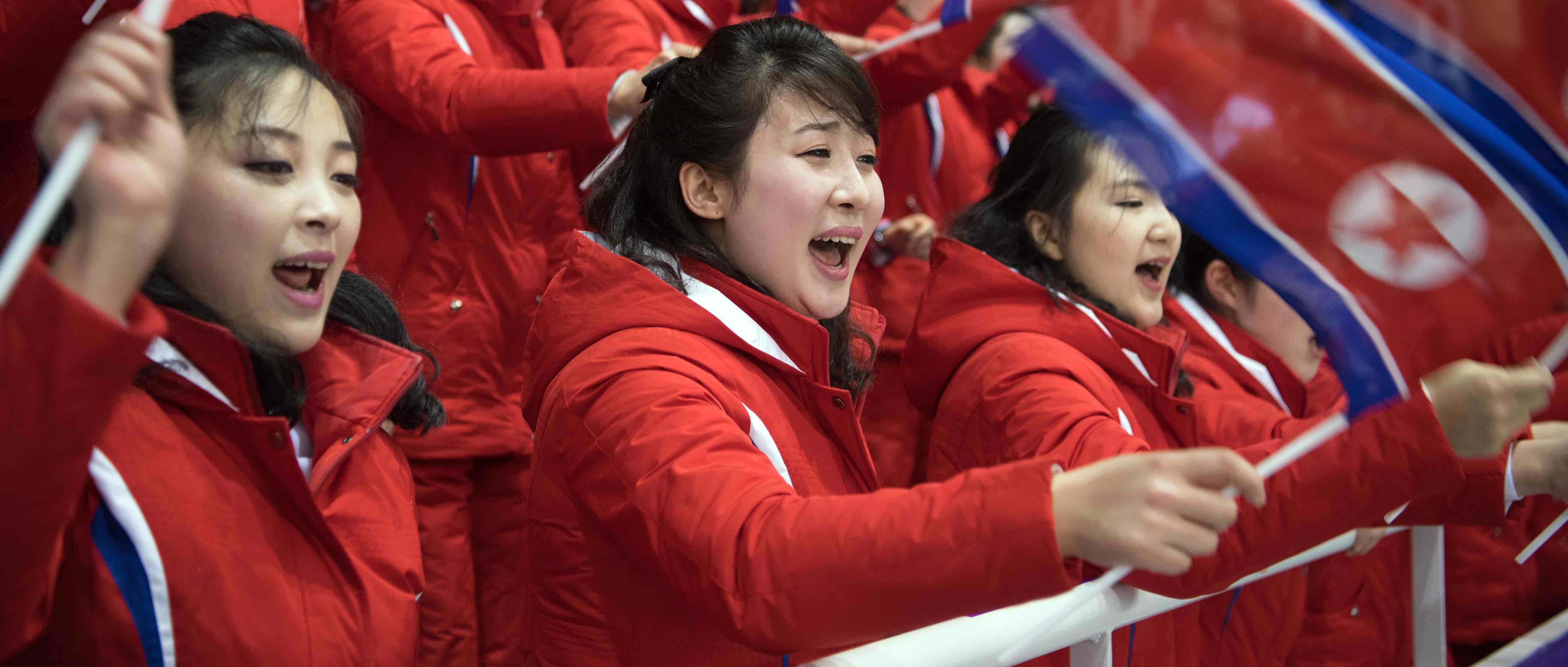North Korean cheer squad in Gangneung Ice Arena during the Winter Olympics (Photo: Carl Court/Getty)