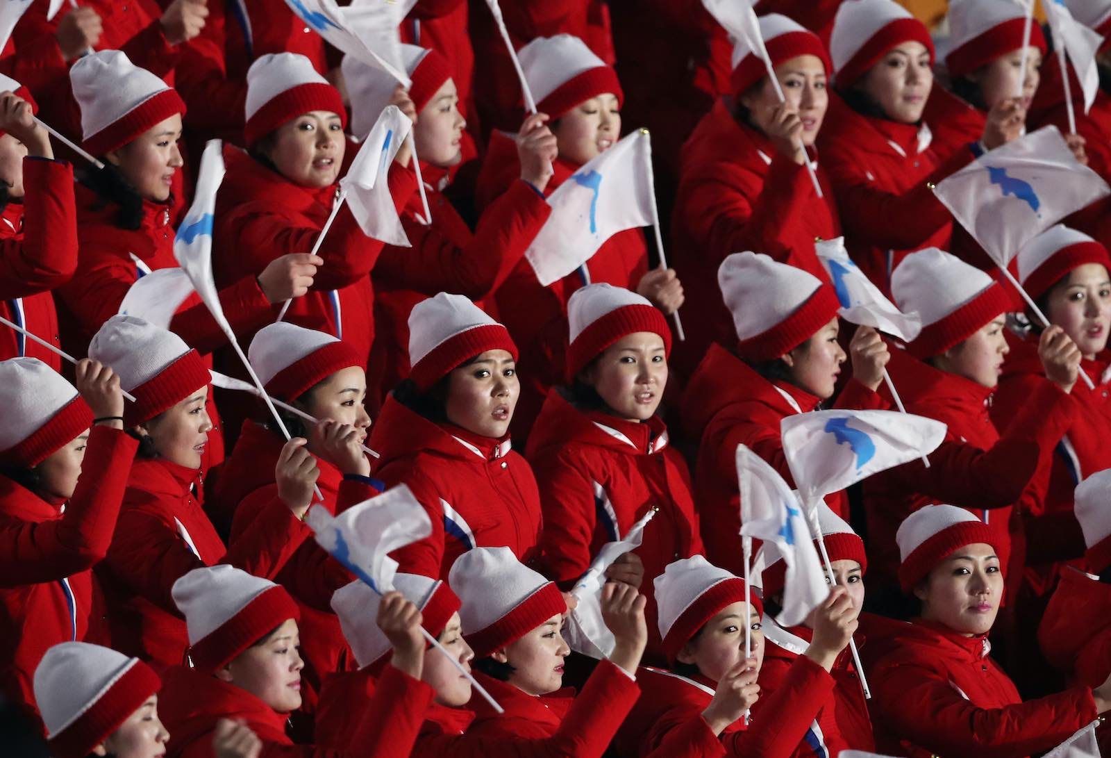 North Korean cheerleaders at the opening ceremony of the 2018 Winter Olympic Games, 9 February 2018 in Pyeongchang-gun, South Korea (Ian MacNicol/Getty Images)