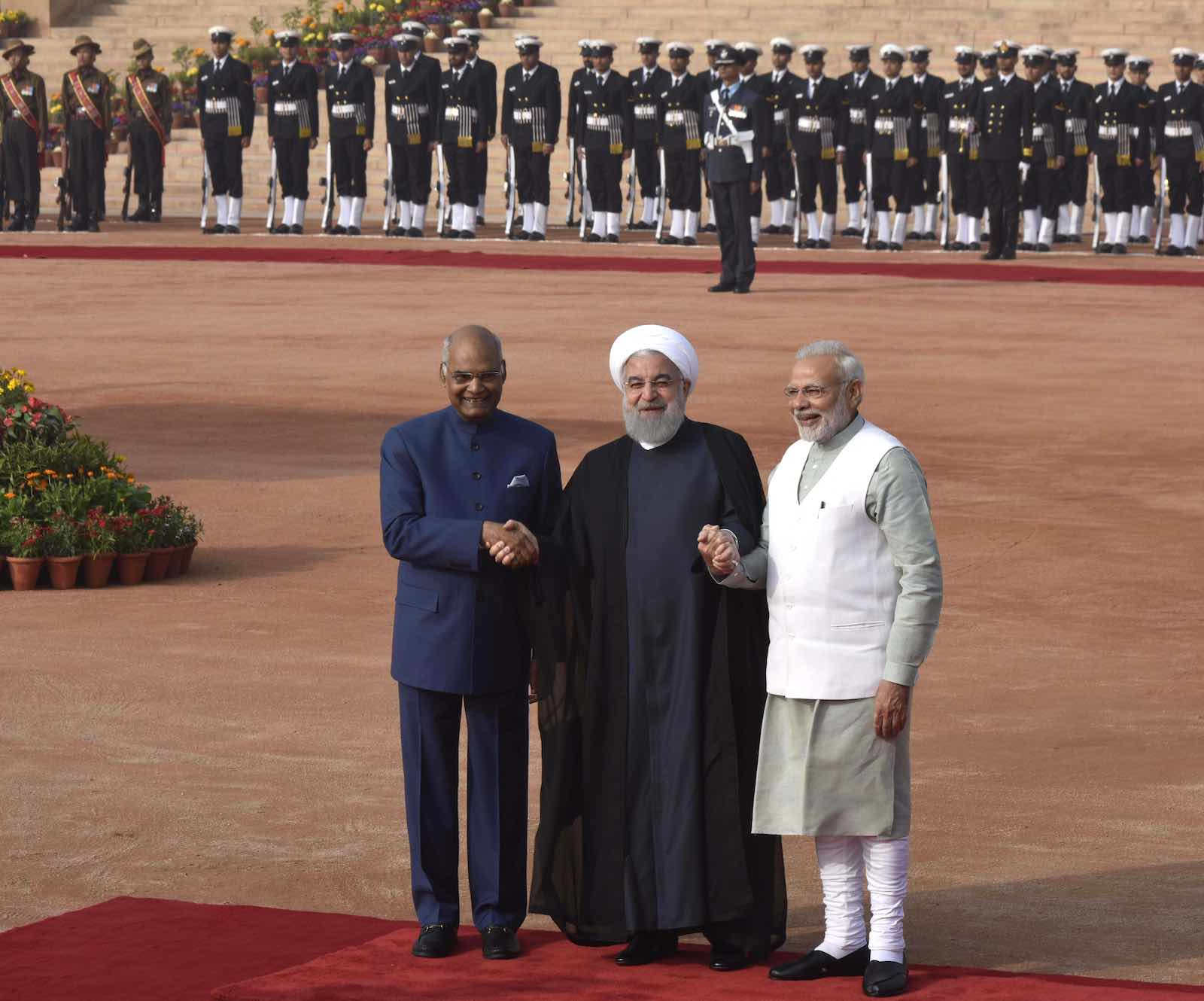 Iranian President Hassan Rouhani with Indian President Ramnath Kovind (L) and Prime Minister Narendra Modi (R) during a reception in New Delhi, February 2018 (Photo: Vipin Kumar/Hindustan Times via Getty Images)