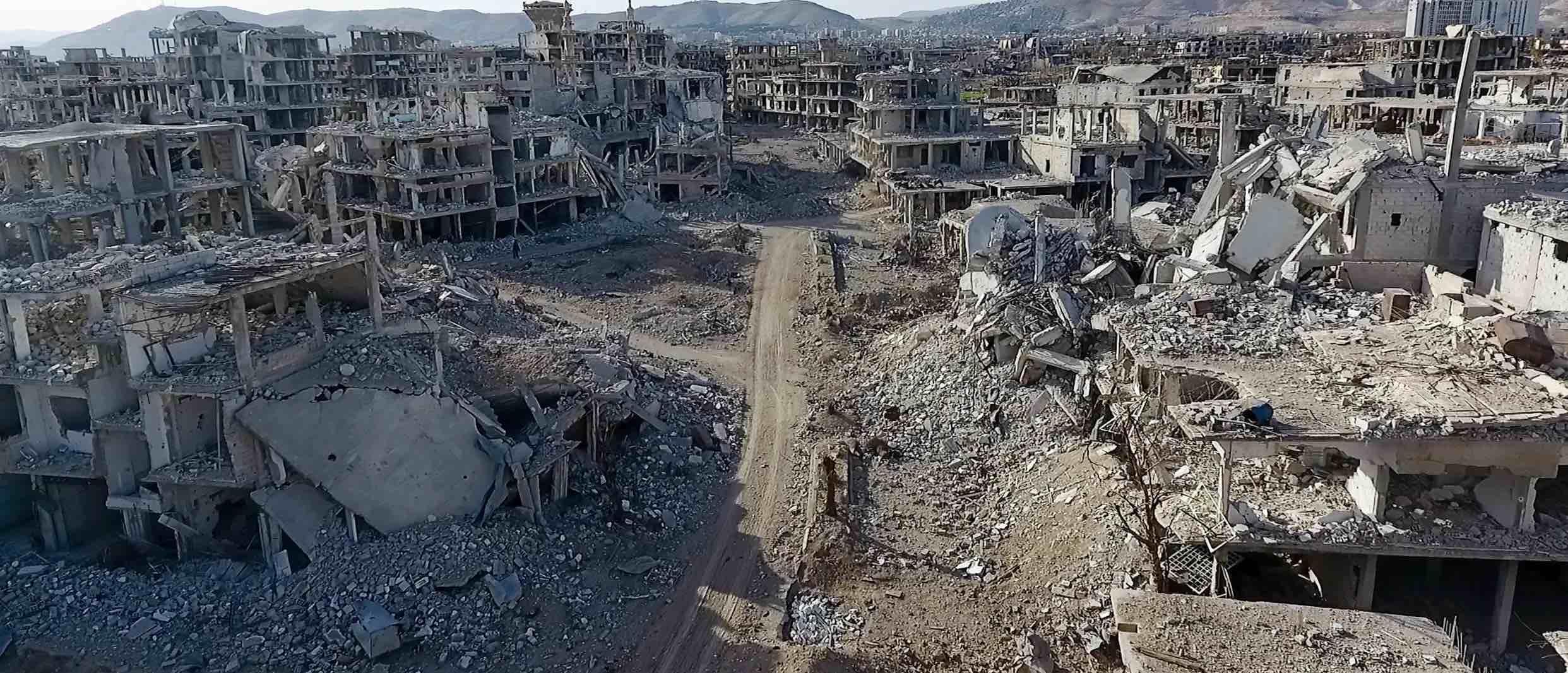 Wreckage in Arbin town, Eastern Ghouta region, Syria, on 9 March (Photo: Ammar Al Bushy/Getty)
