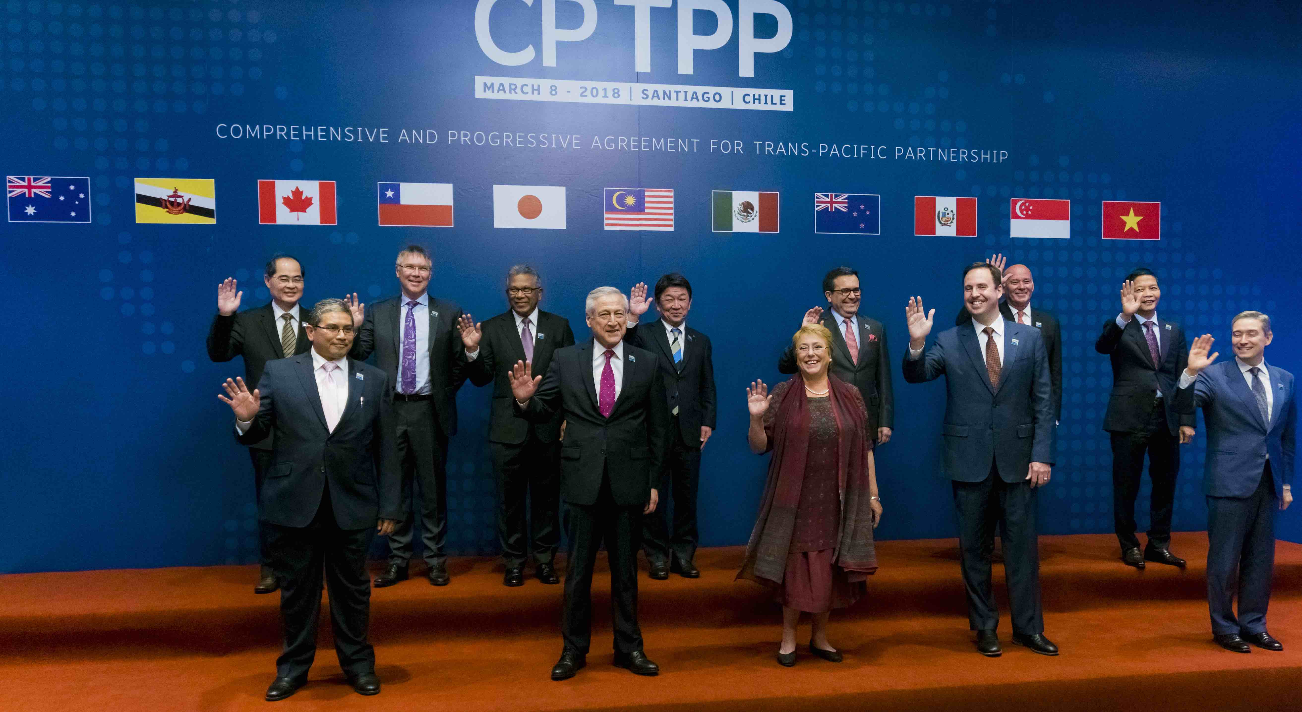 Signatories to the Comprehensive and Progressive Partnership for Trans-Pacific Partnership, 8 March (Photo: Sebastián Vivallo Oñate/Getty)
