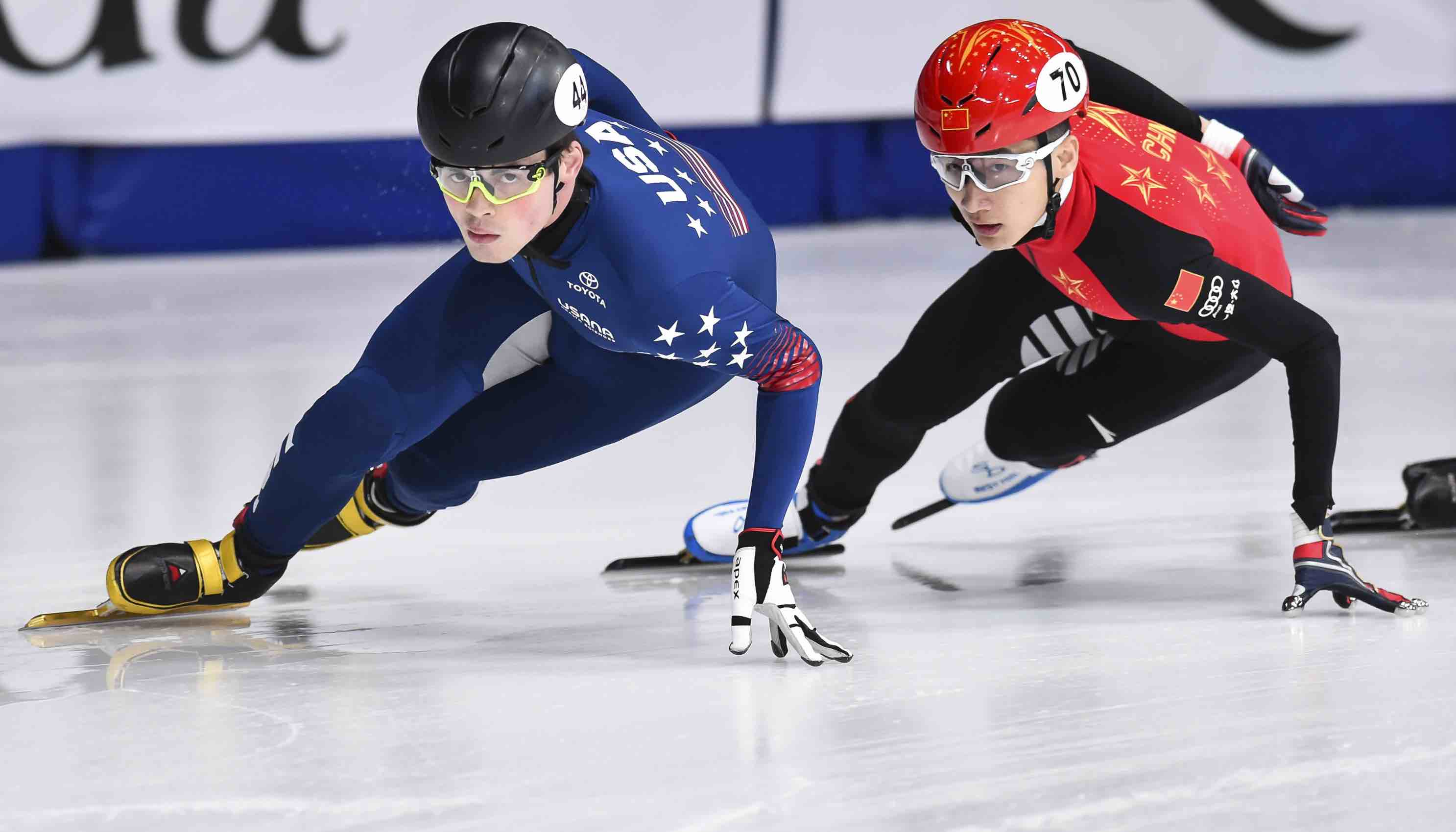 John-Henry Krueger of the US and Hongzhi Xu of China in the World Short Track Speed Skating Championships in Montreal in March (Photo: Minas Panagiotakis via Getty)