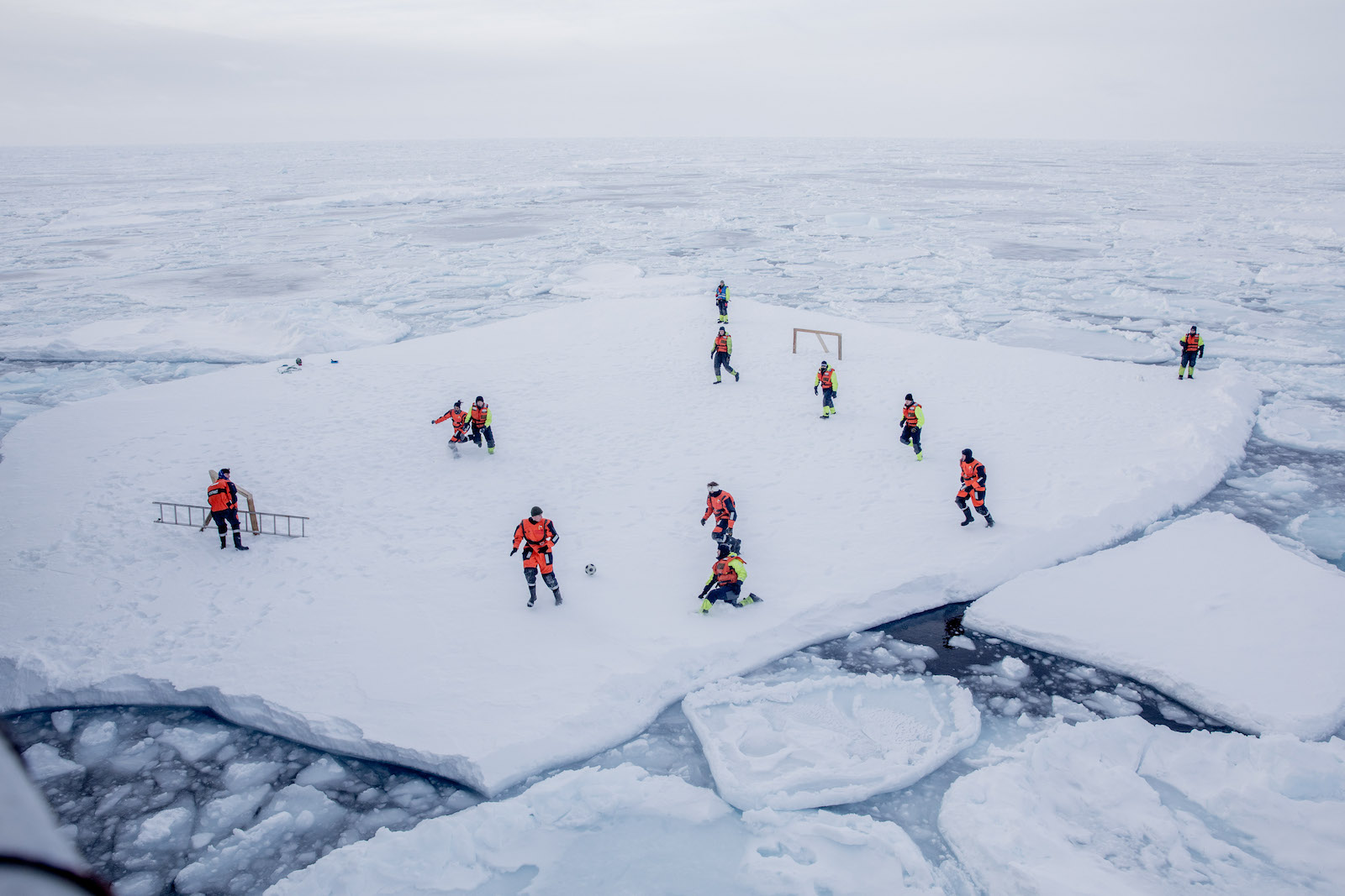 Soccer on ice: Not the US national sport... yet. (Photo: Marius Vagenes Villanger via Getty)