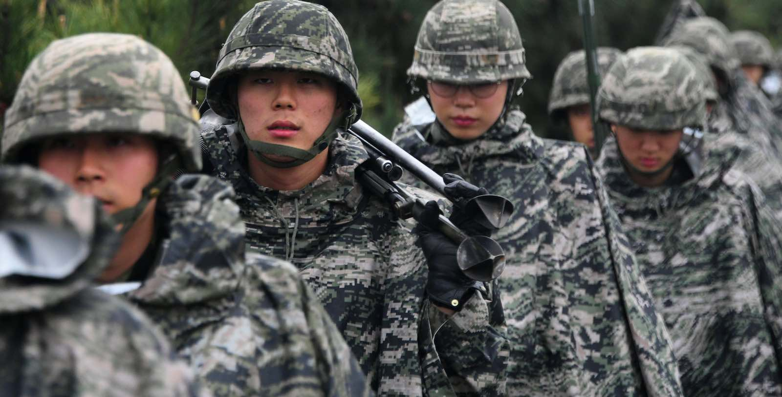 South Korean marines march in April (Photo: Jung Yeon-je via Getty)
