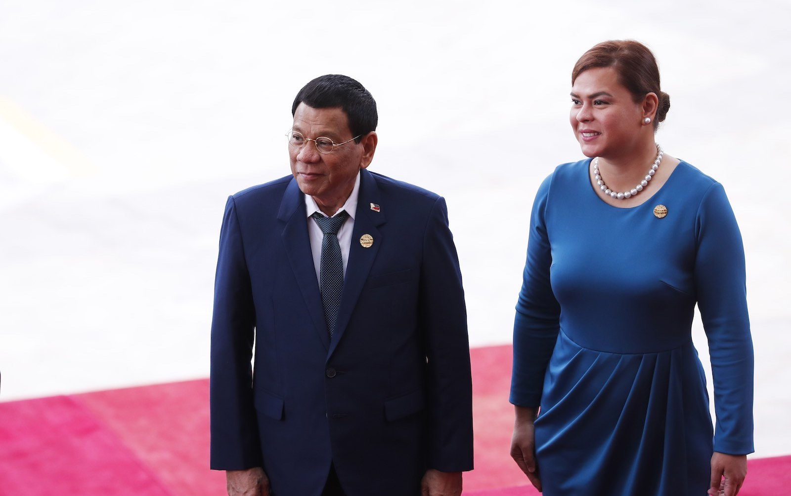 Philippines President Rodrigo Duterte (L) and daughter Sara Duterte at the Boao Forum for Asia Conference 2018, in China's Hainan province, April 2018 (AFP via Getty Images)
