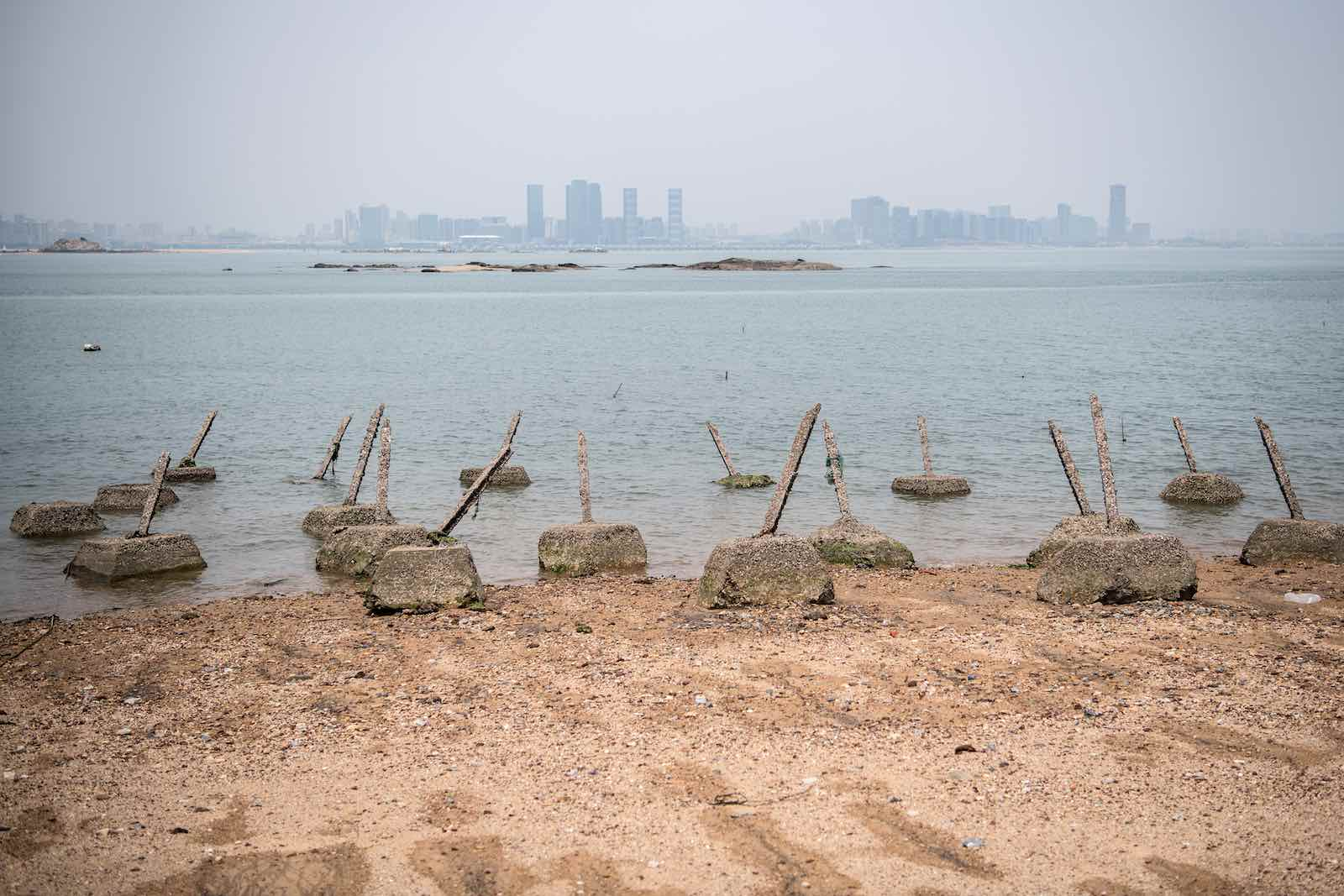 Anti-landing barricades on a beach facing China on Taiwan's Little Kinmen island, which lies only a few kilometres from mainland China (Carl Court/Getty Images)