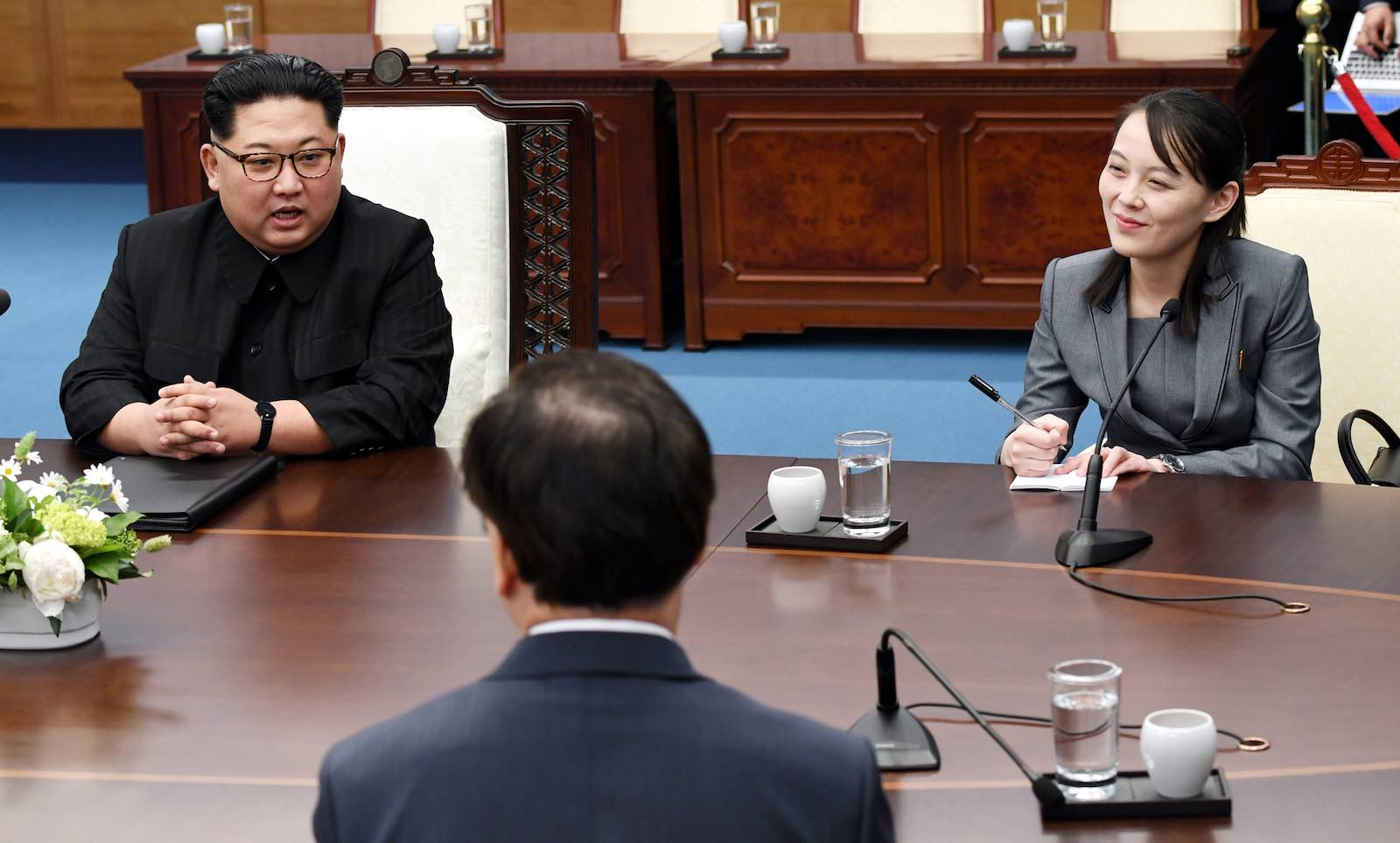 North Korean Leader Kim Jong-un and his sister Kim Yo-jong at the 2018 Inter-Korean Summit atPanmunjom (Getty Images)