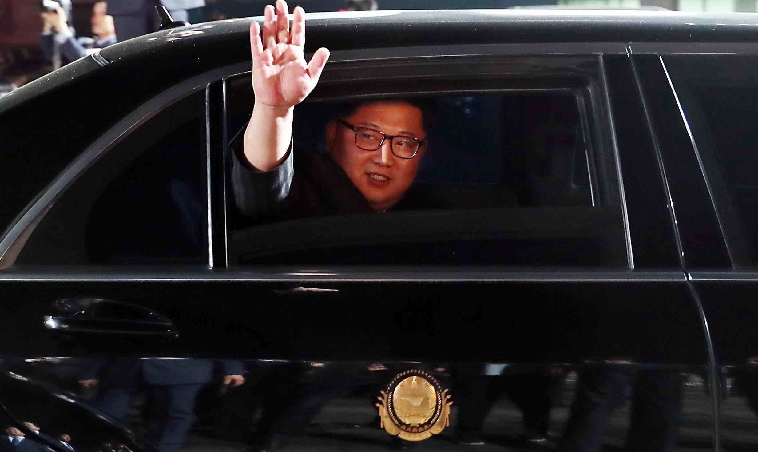 North Korean leader Kim Jong-un waves when departing the inter-Korean summit in Panmunjom last month (Photo: Getty Images)