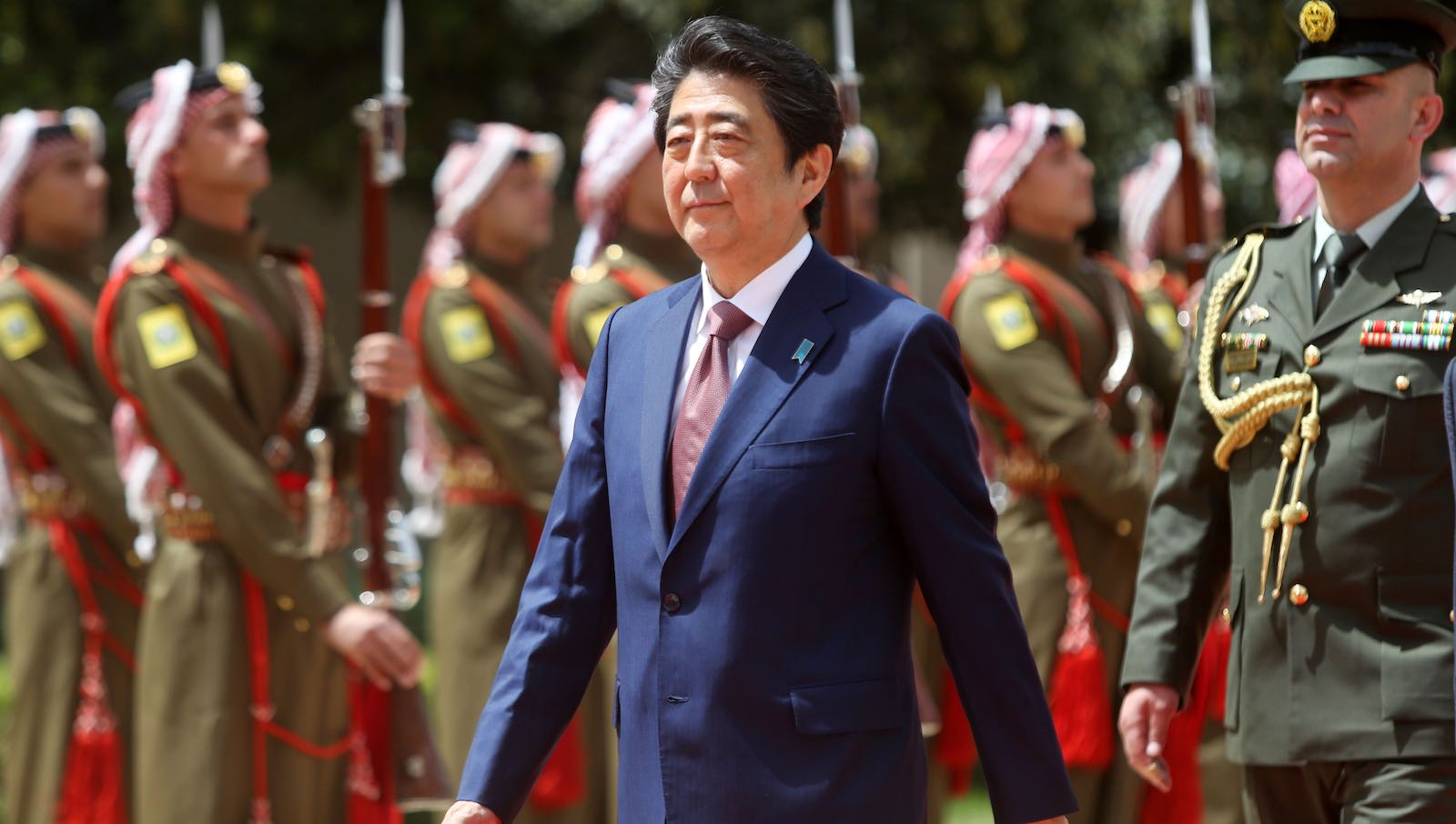 Japanese Prime Minister Shinzo Abe during a two-day visit to Jordan in May (Photo: Salah Malkawi/Getty)